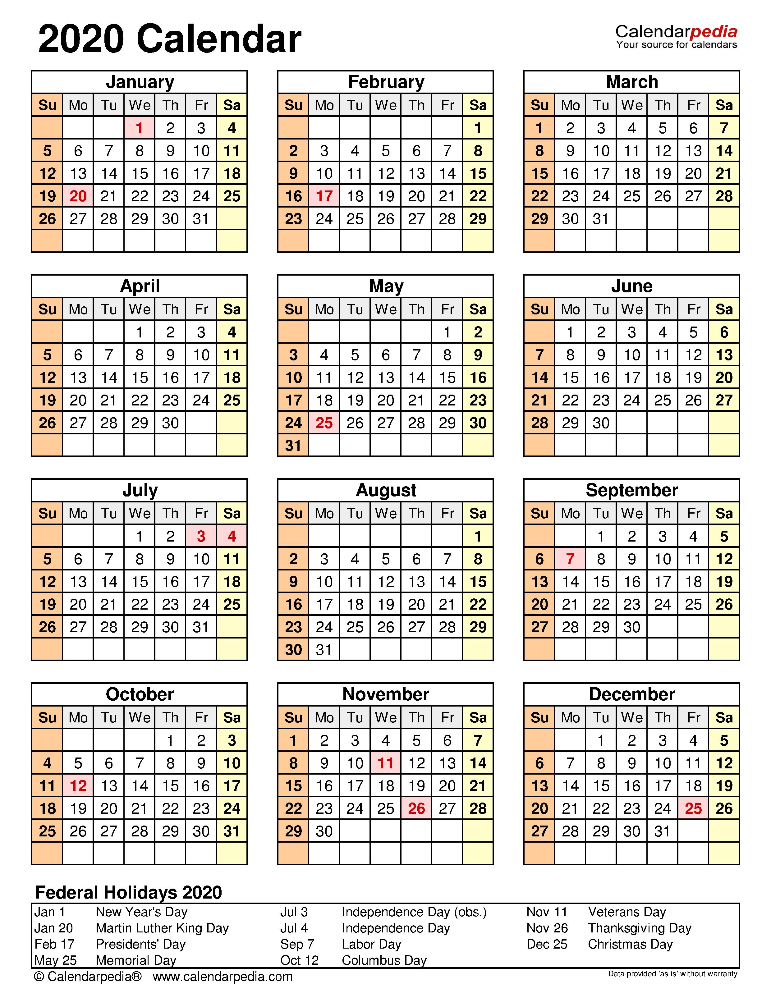2022 Attendance Calendar Printable Free.2020 Calendar Free Printable Word Templates Calendarpedia