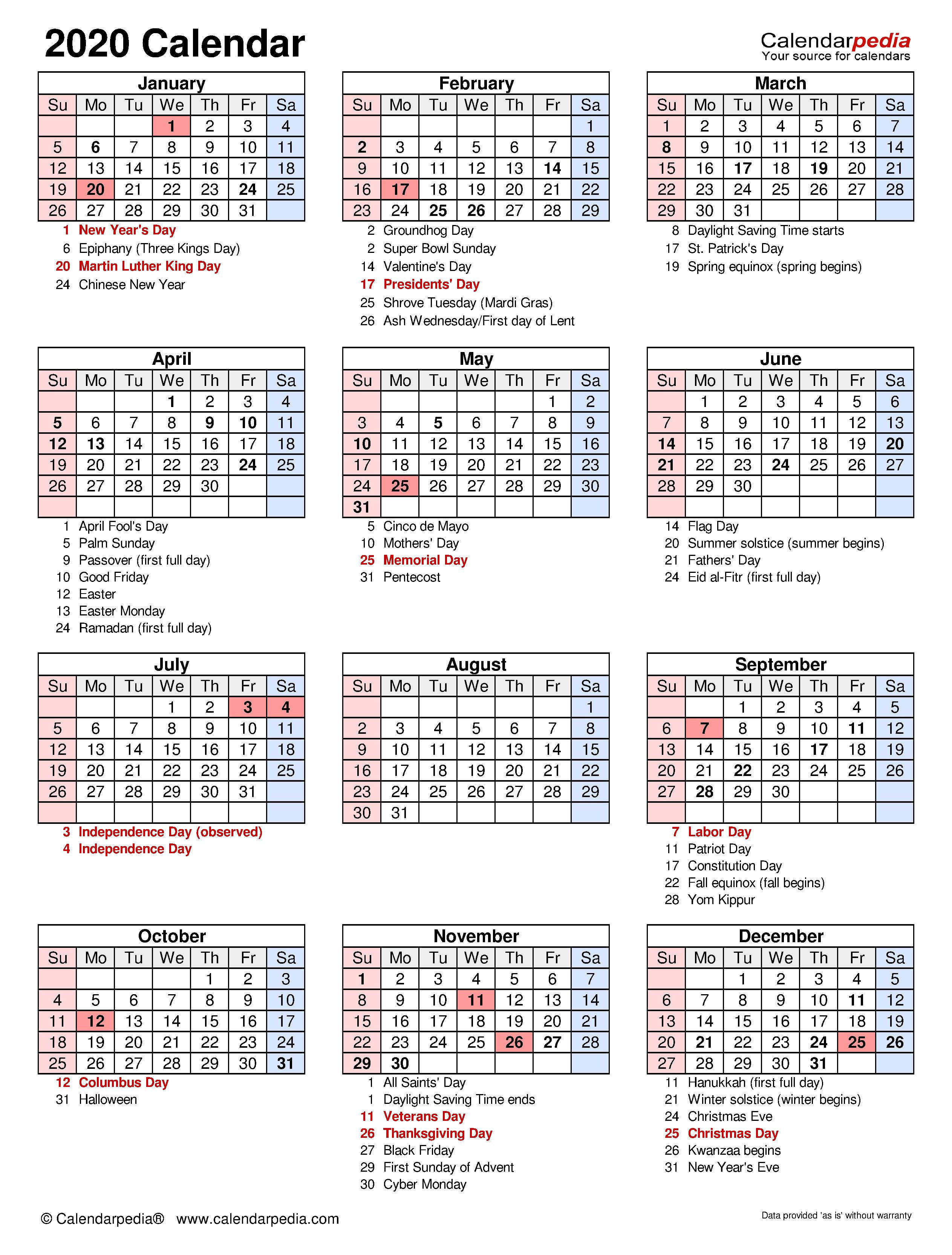 2020 Calendar Free Printable Excel Templates Calendarpedia ...