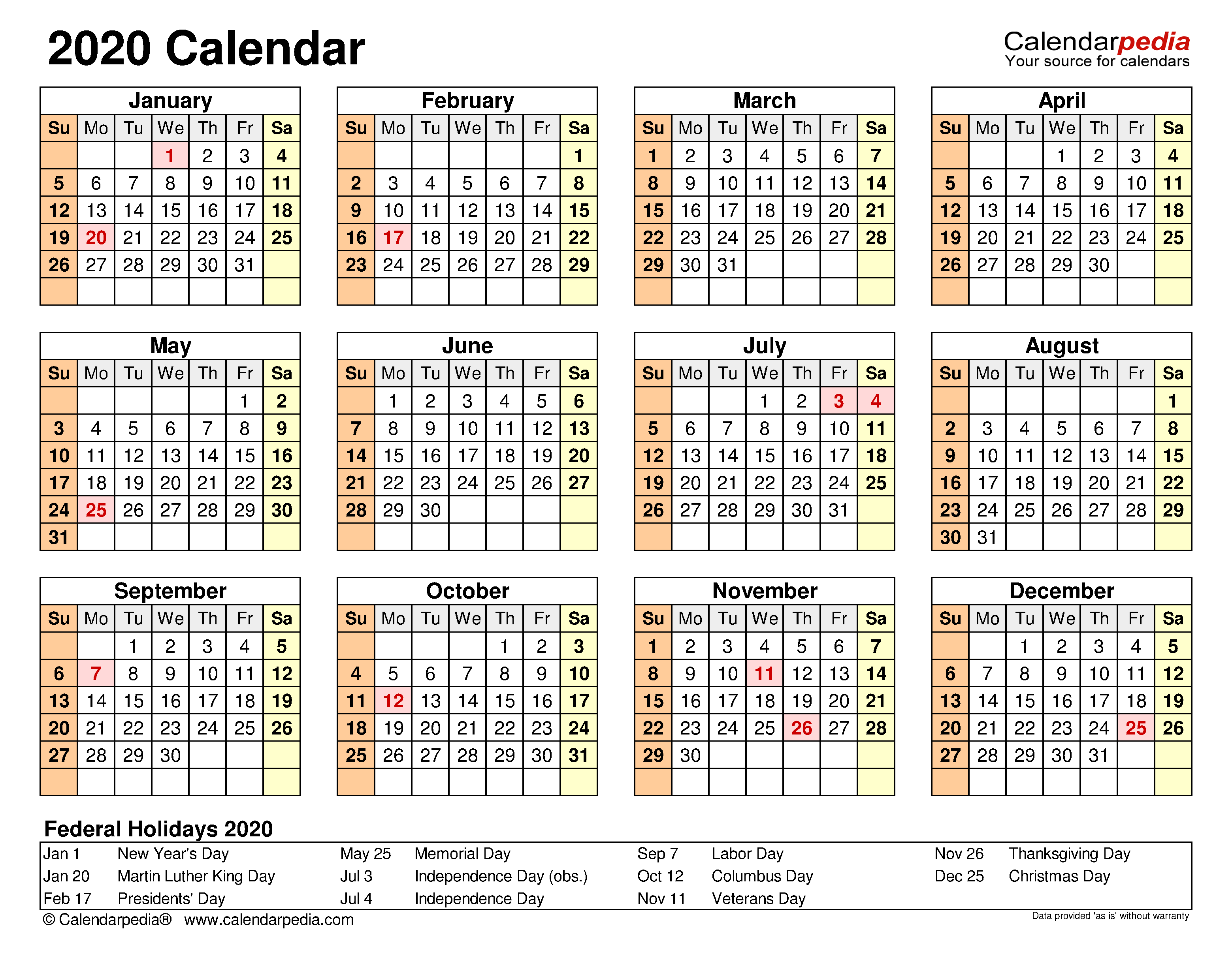 2020 Calendar Free Printable Word Templates Calendarpedia