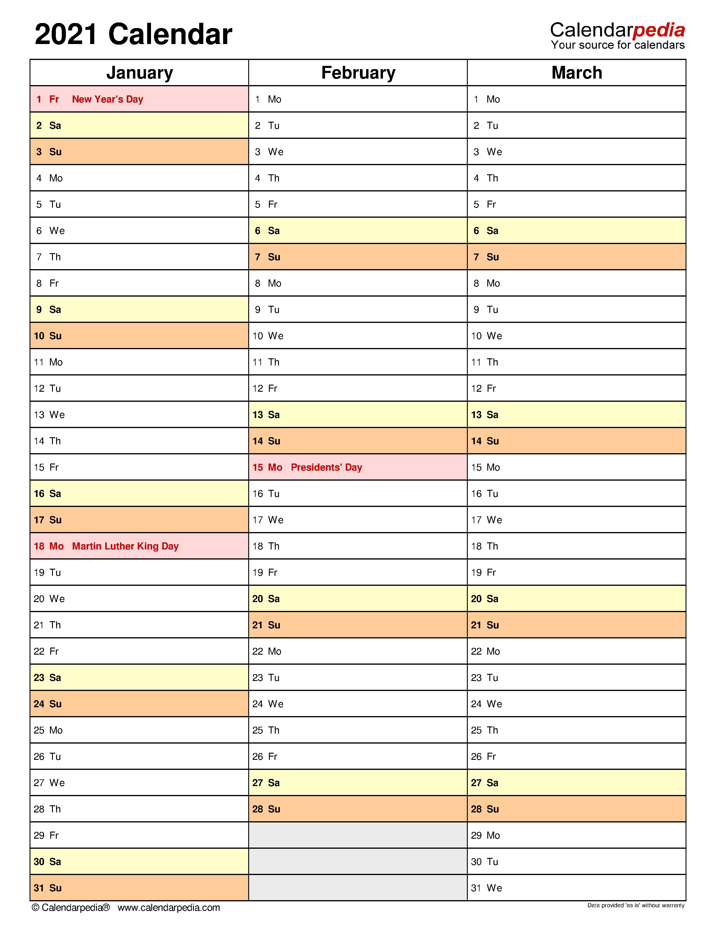 2021 Calendar - Free Printable Microsoft Word Templates