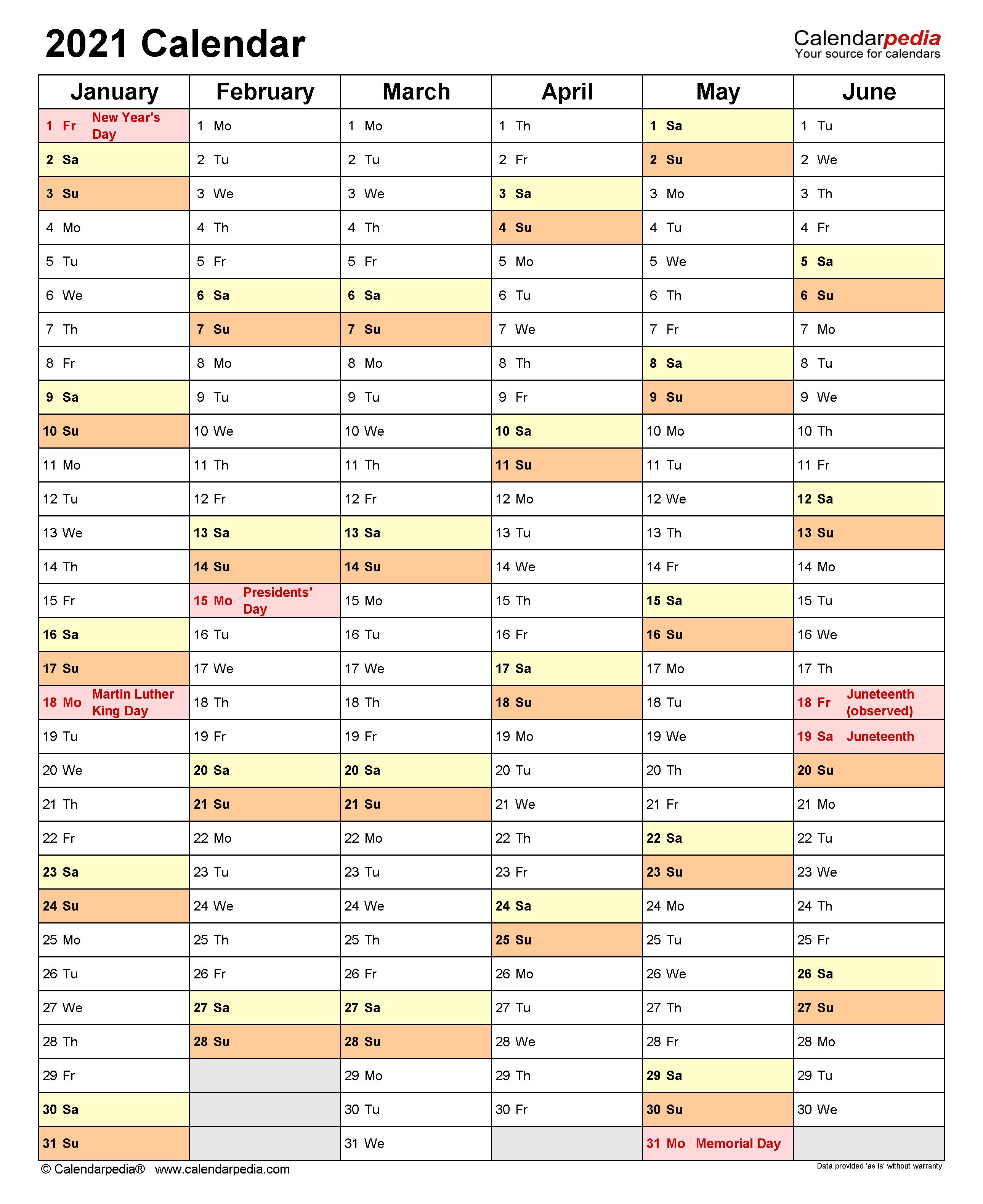 2021 Calendar 6 Months Per Page