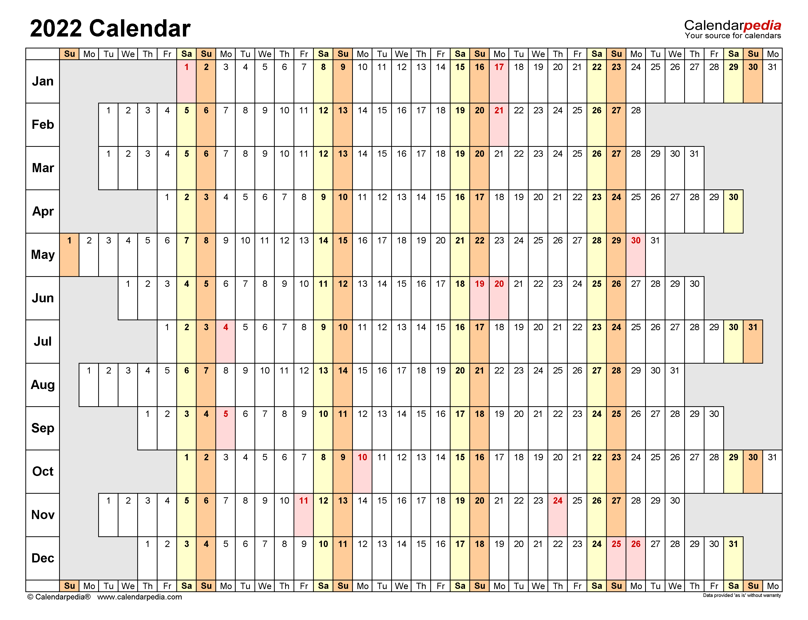 Winword Calendar 2022.2022 Calendar Free Printable Word Templates Calendarpedia