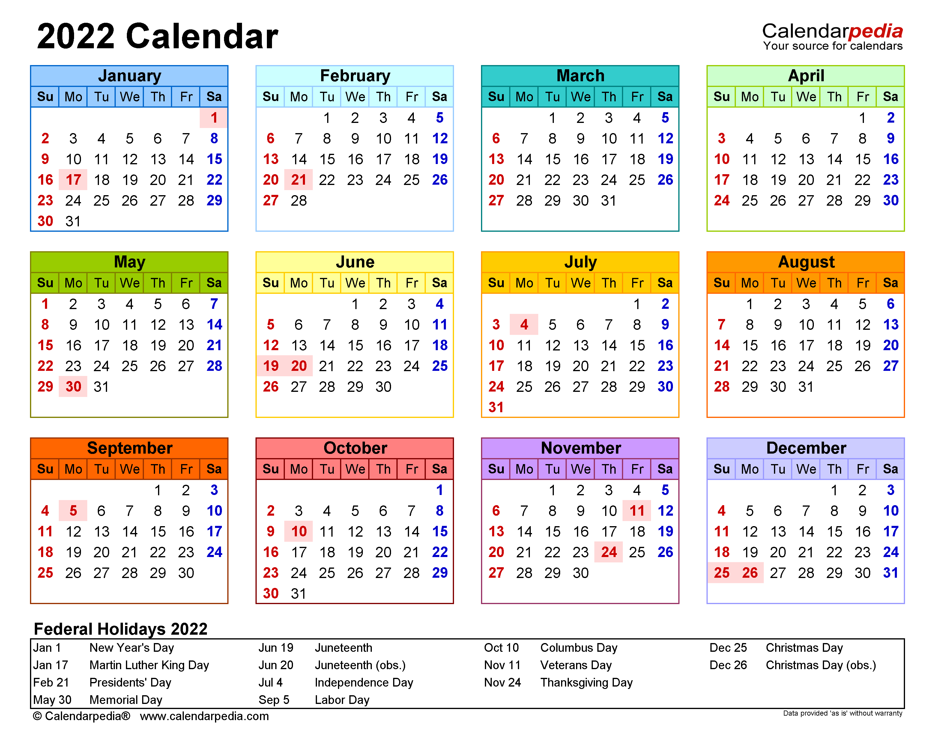 2022 Weekly Calendar Excel.2022 Calendar Free Printable Excel Templates Calendarpedia