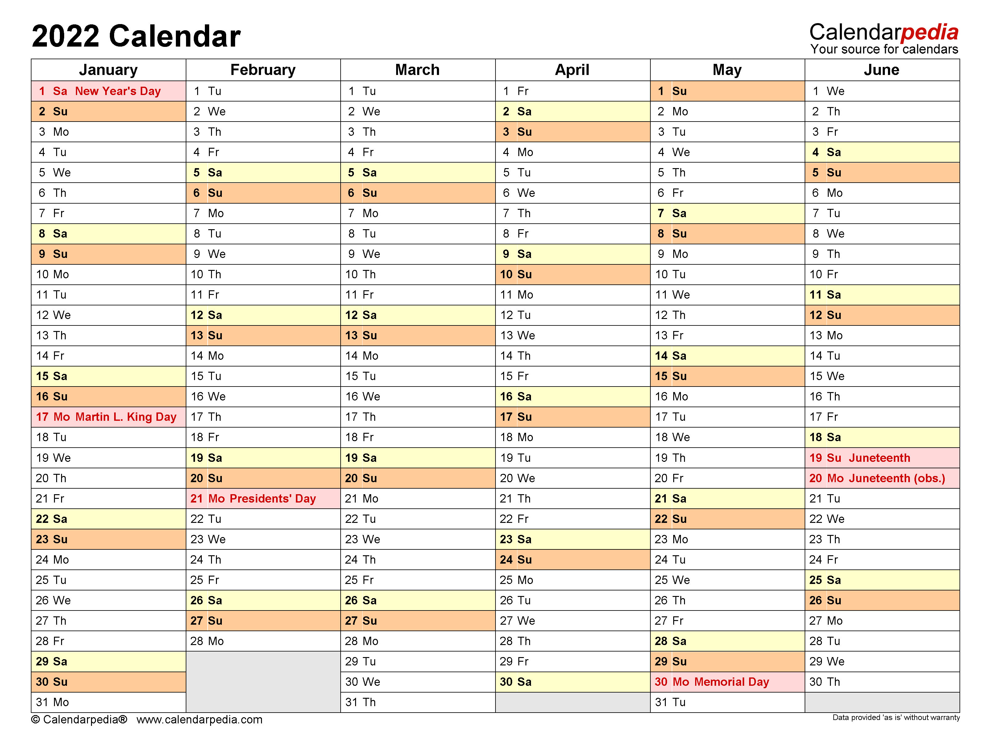 Windows Calendar 2022.2022 Calendar Free Printable Word Templates Calendarpedia