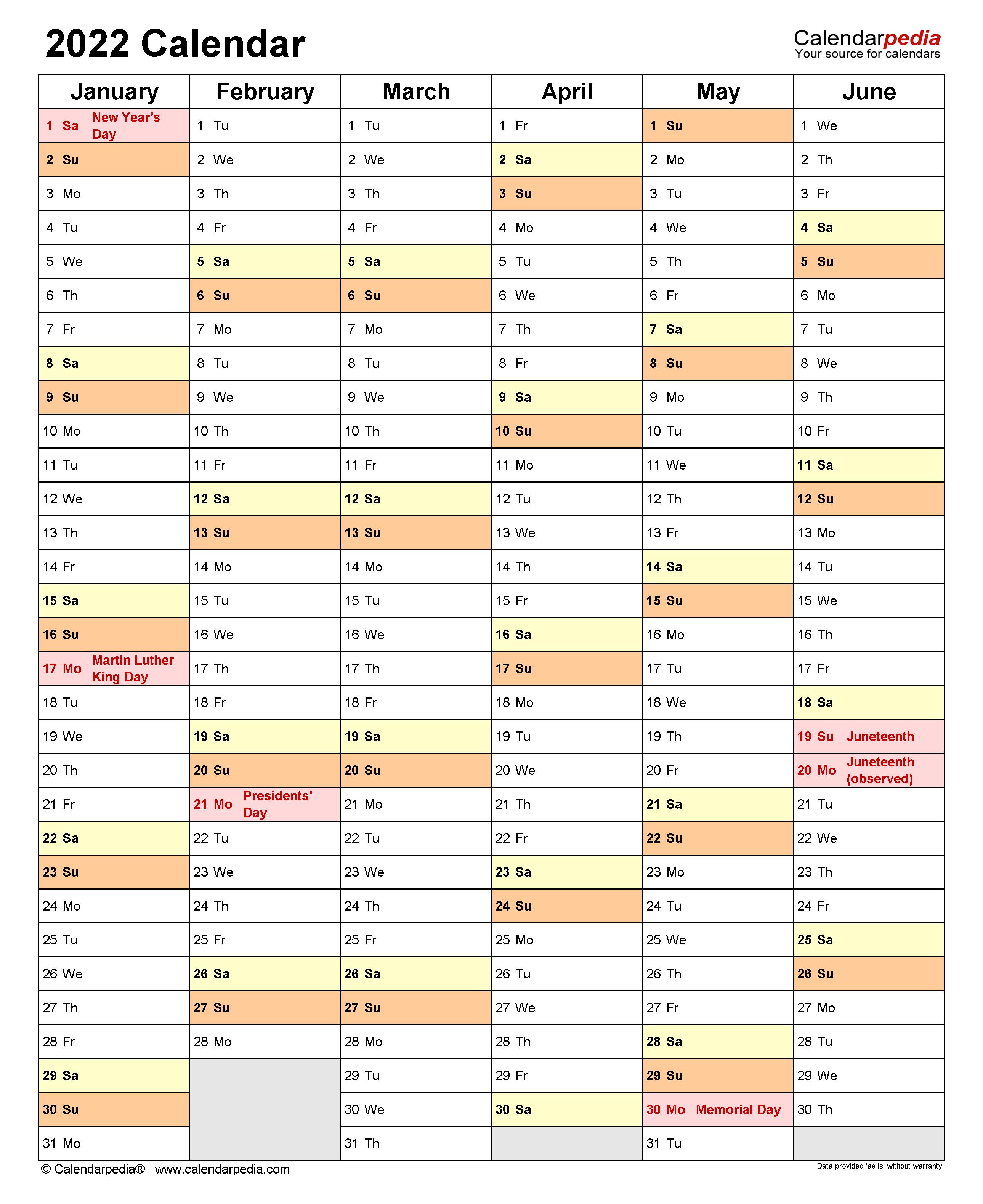 2 Page Monthly Calendar 2022 Printable.2022 Calendar Free Printable Word Templates Calendarpedia