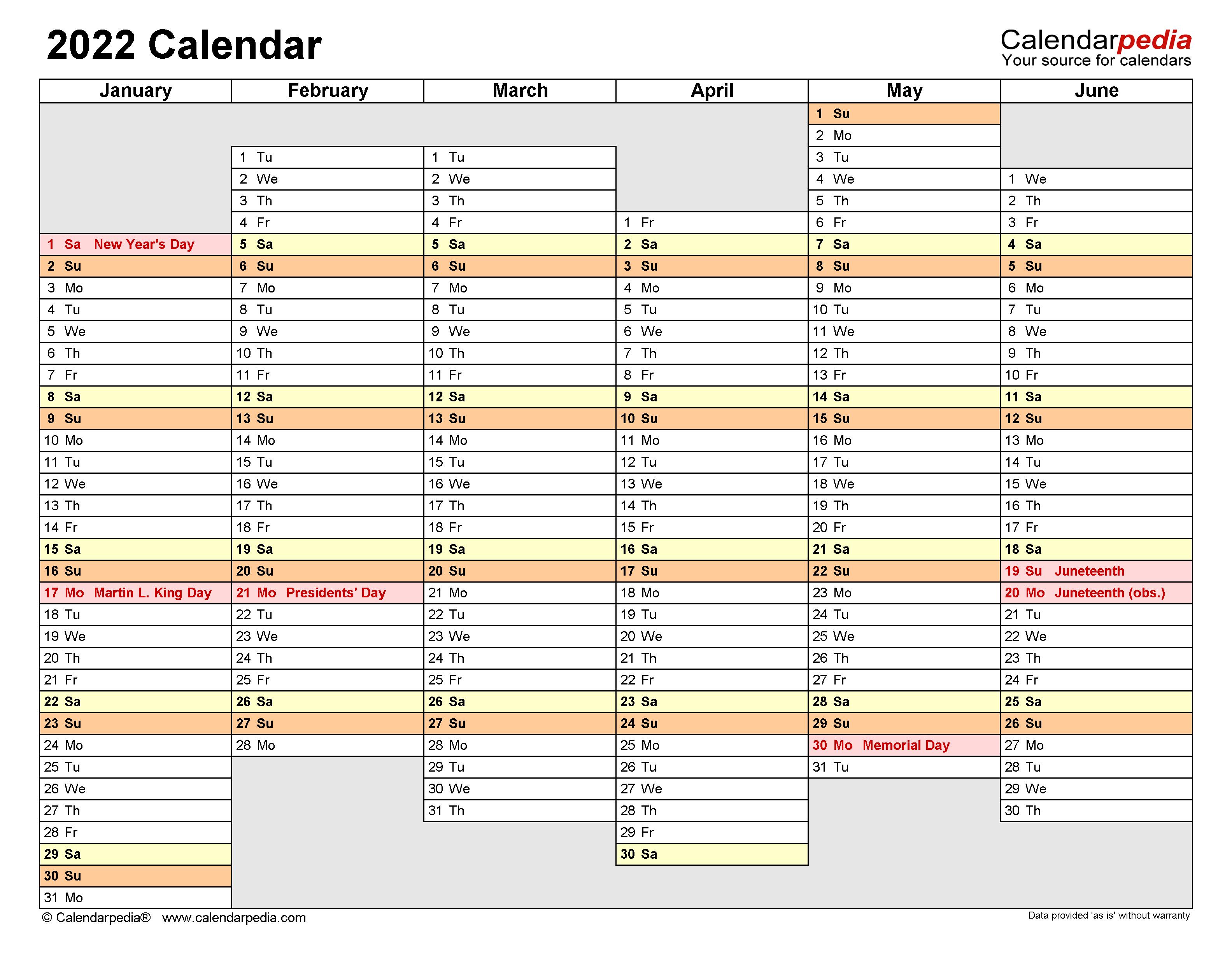 2022 Yearly Calendar.2022 Calendar Free Printable Word Templates Calendarpedia