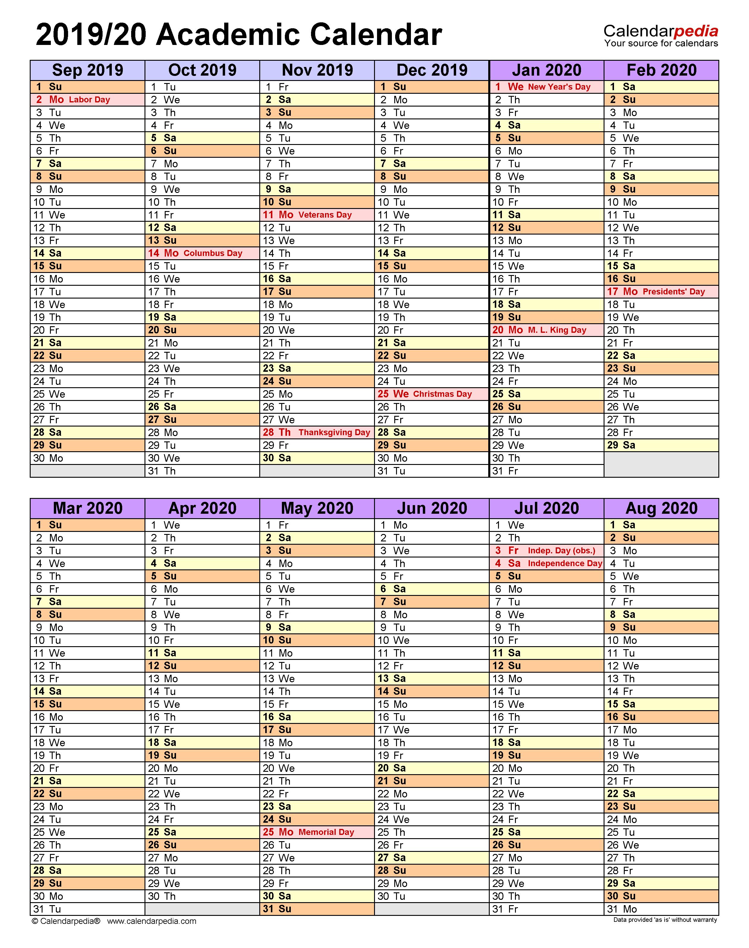 academic calendars 2019  2020