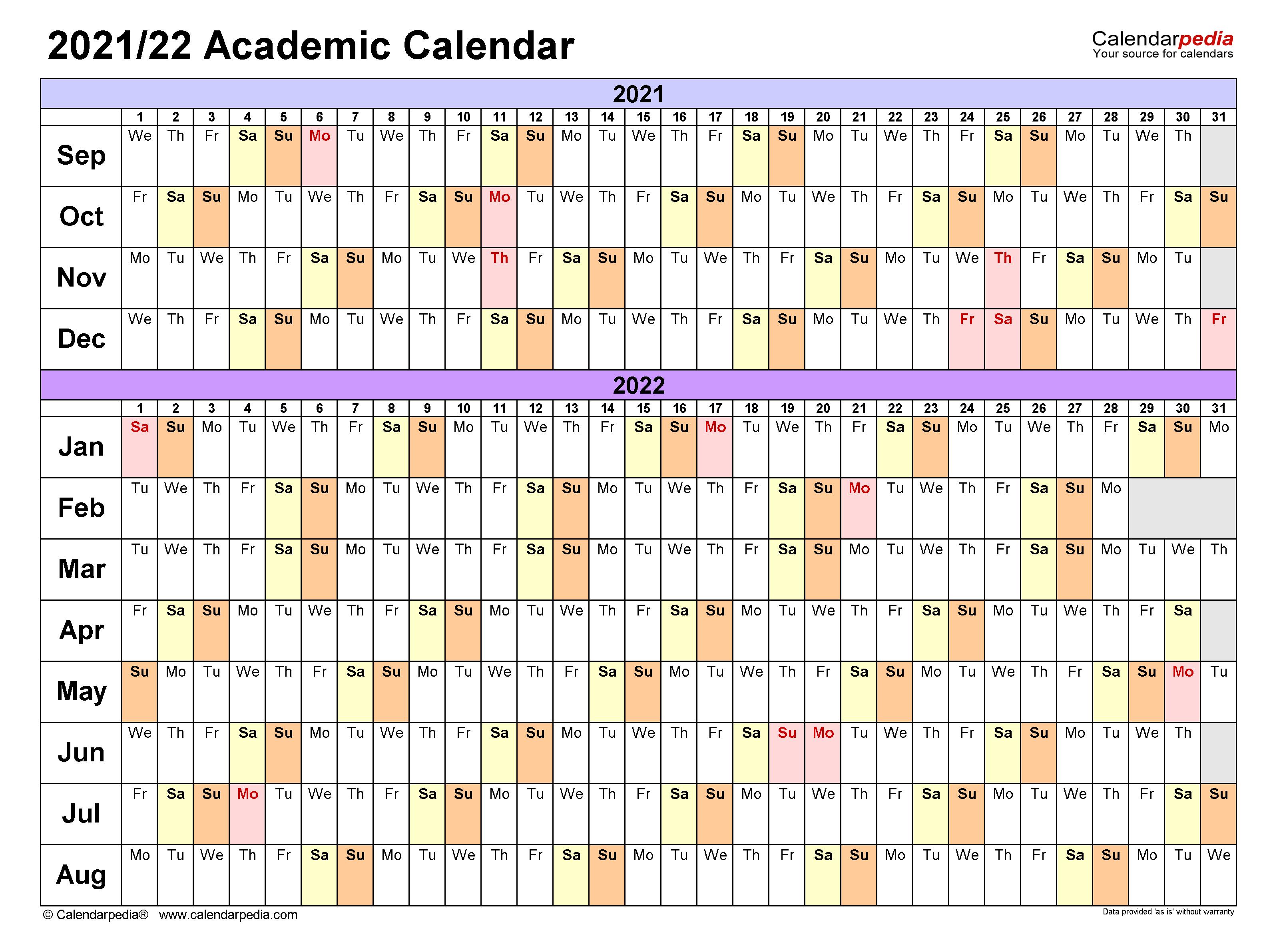 Fall 2022 Academic Calendar.Academic Calendars 2021 2022 Free Printable Excel Templates