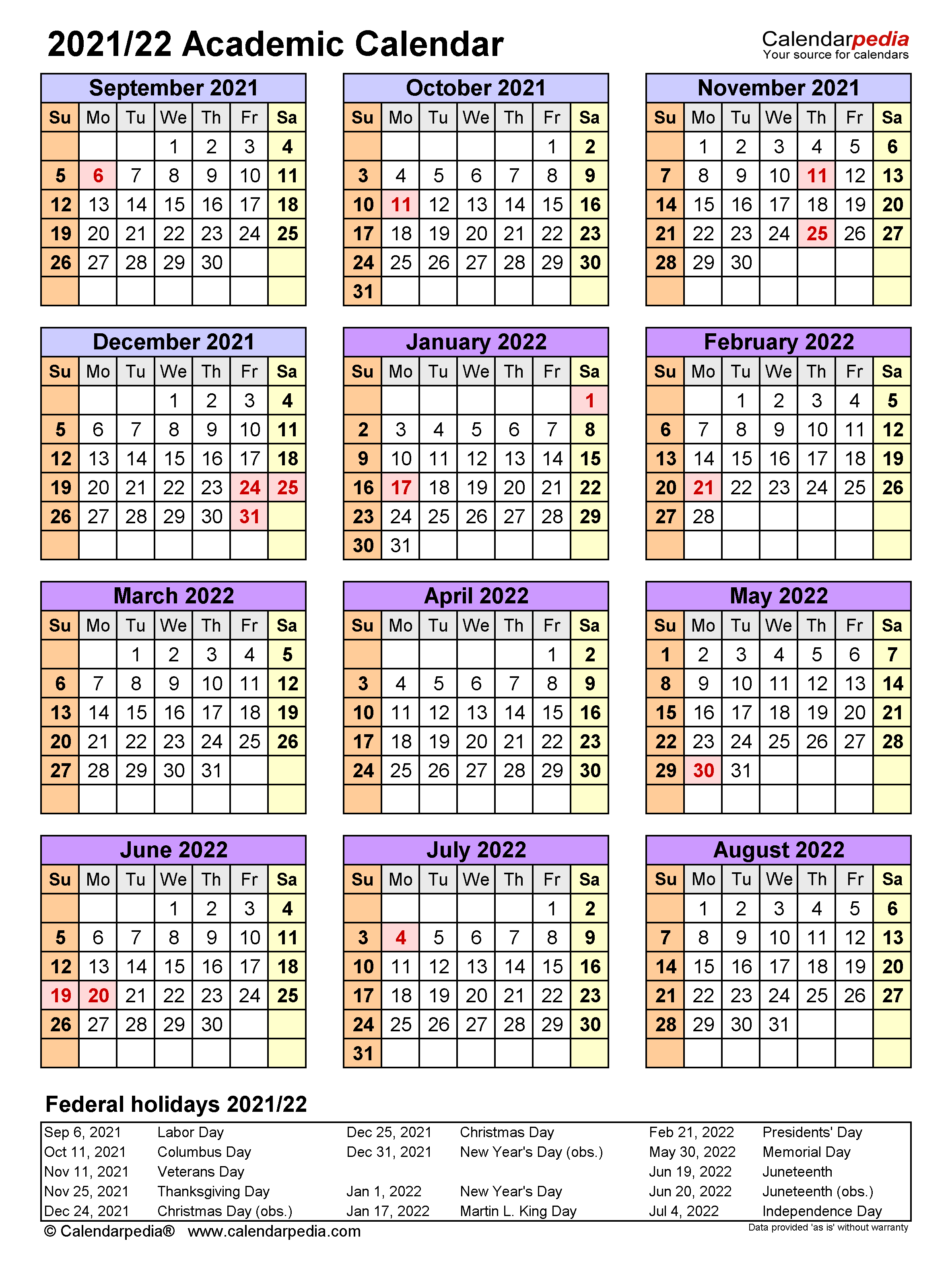 Calendar School Year 2021-22 Academic Calendars 2021/2022   free printable Word templates