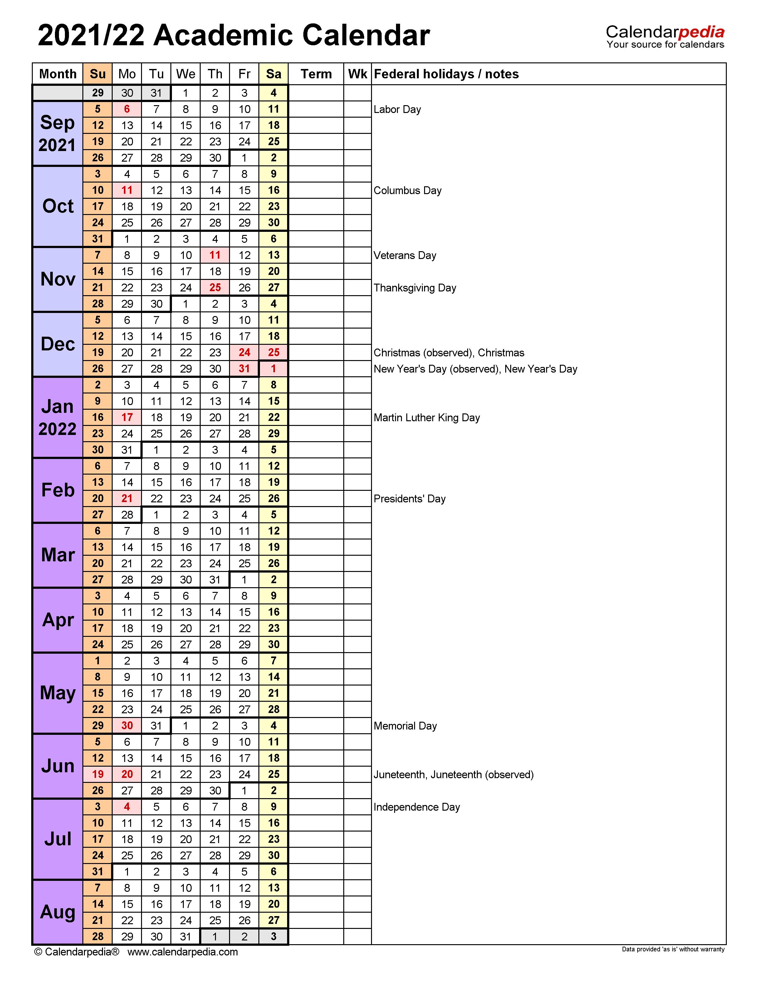 Miami University Calendar 2022 23.Academic Calendars 2021 2022 Free Printable Excel Templates