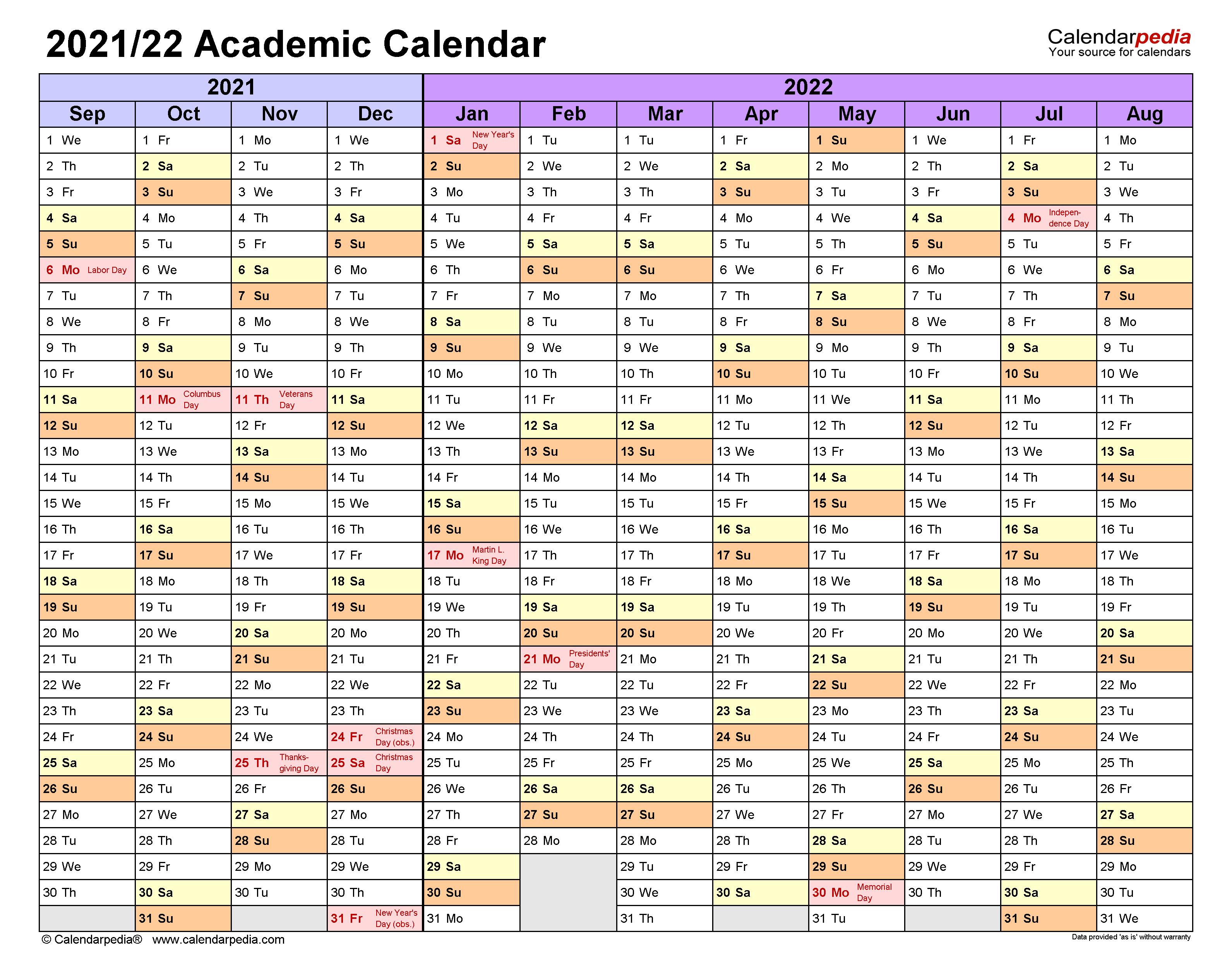 Excel Academic Calendar 2021-22 Images