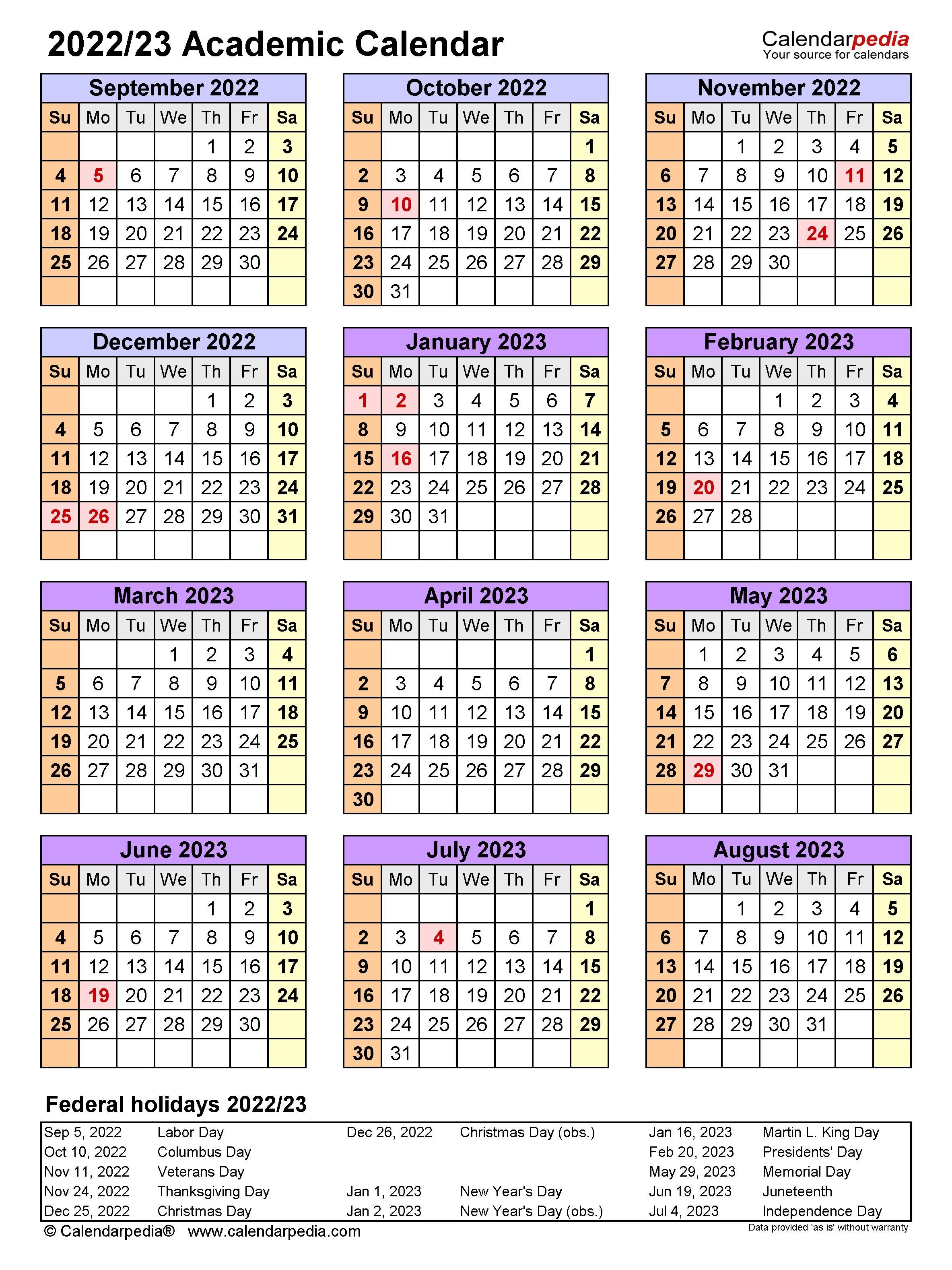 Cusd Calendar 2022 23.Academic Calendars 2022 2023 Free Printable Word Templates