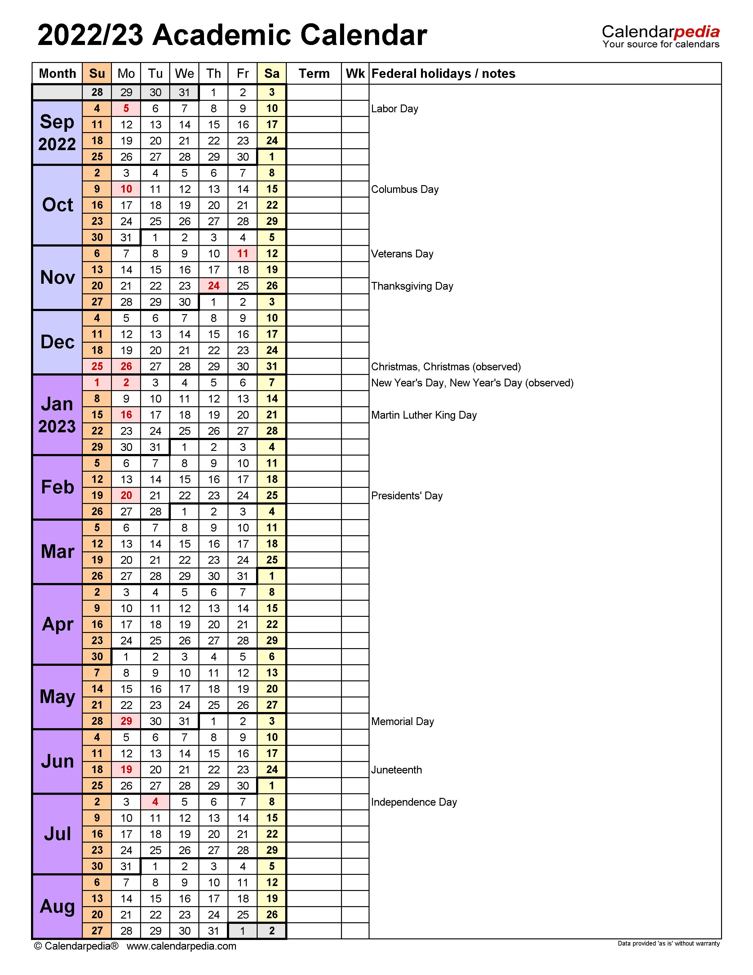 Wku Academic Calendar 2022.Academic Calendars 2022 2023 Free Printable Word Templates