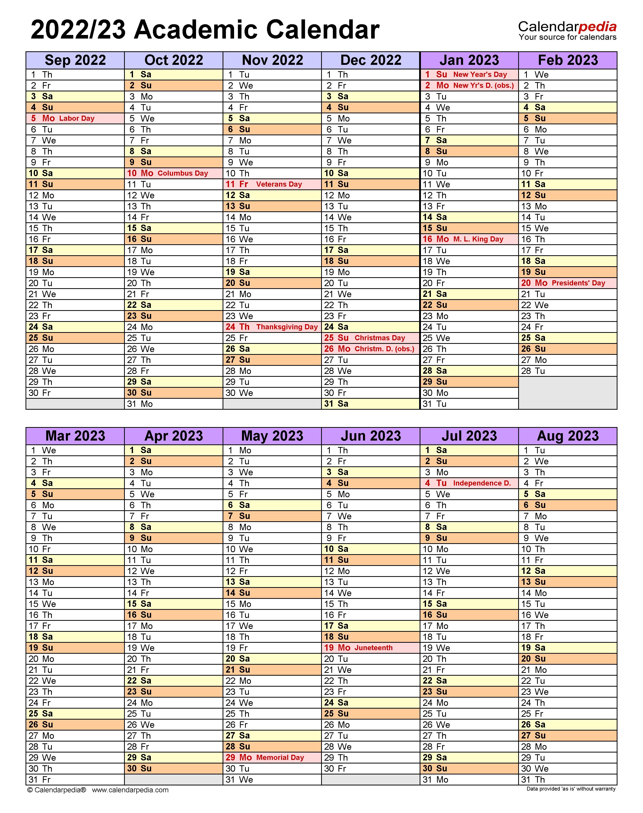 Tufts Academic Calendar 2022 2023.Academic Calendars 2022 2023 Free Printable Word Templates
