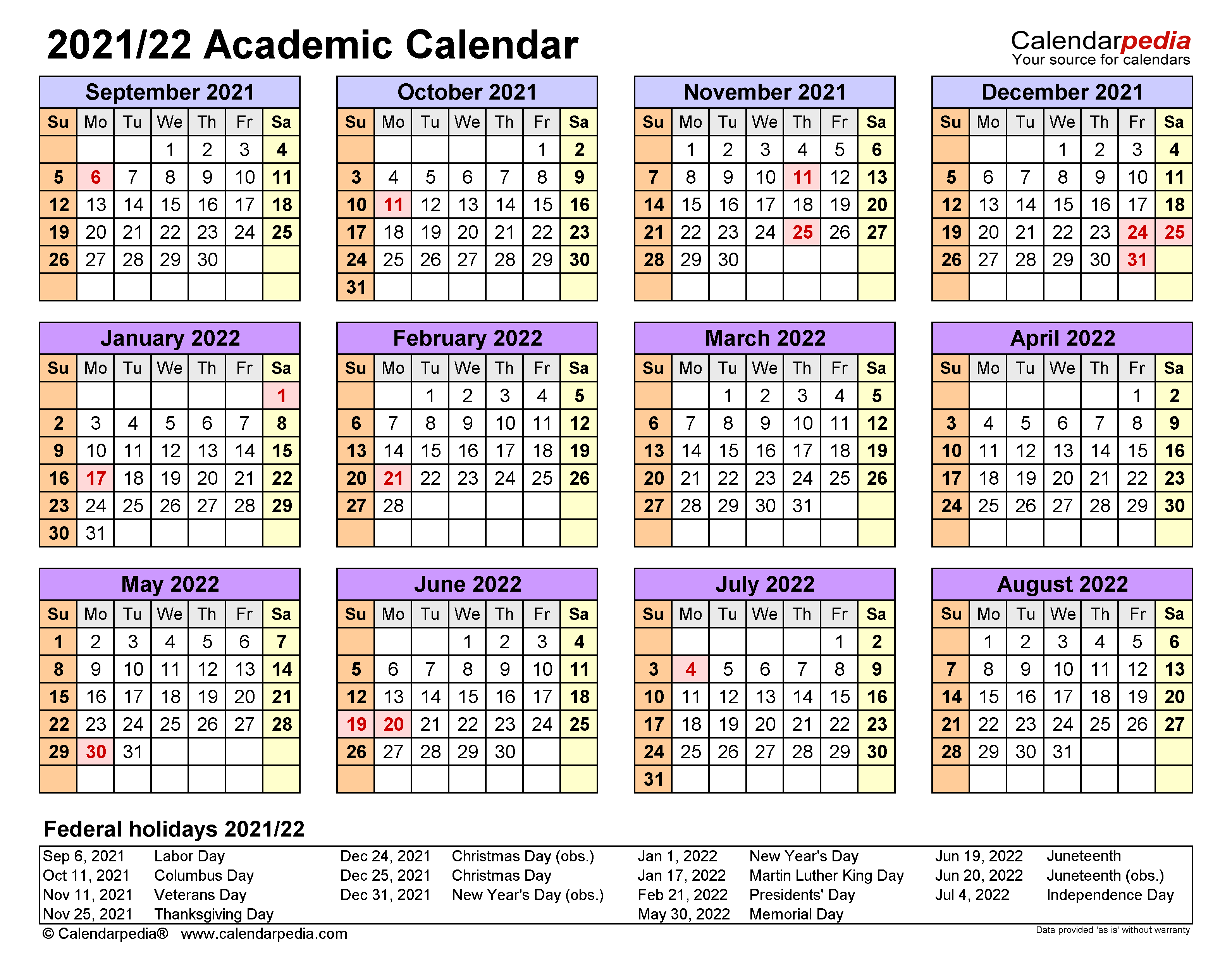 Academic Calendars 2021/2022   free printable Word templates