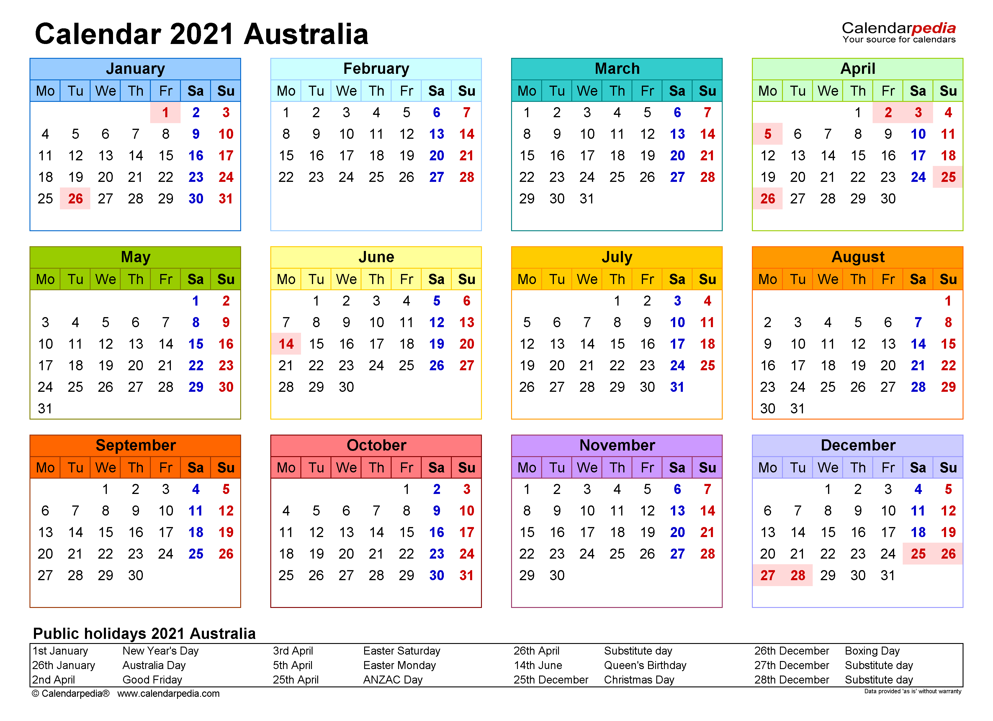 Australia Calendar 2021   Free Printable Excel templates