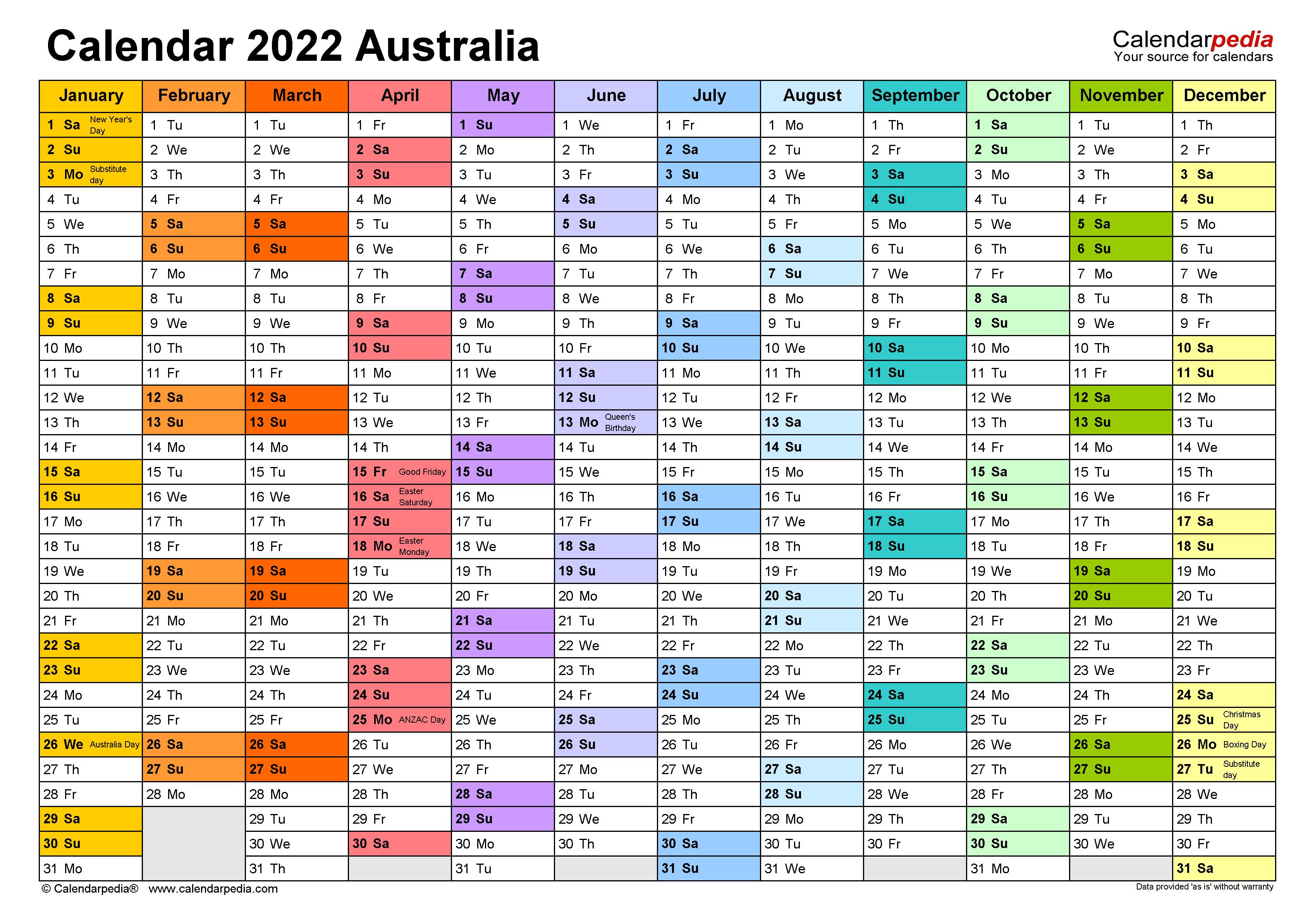 2022 Excel Calendar.Australia Calendar 2022 Free Printable Excel Templates