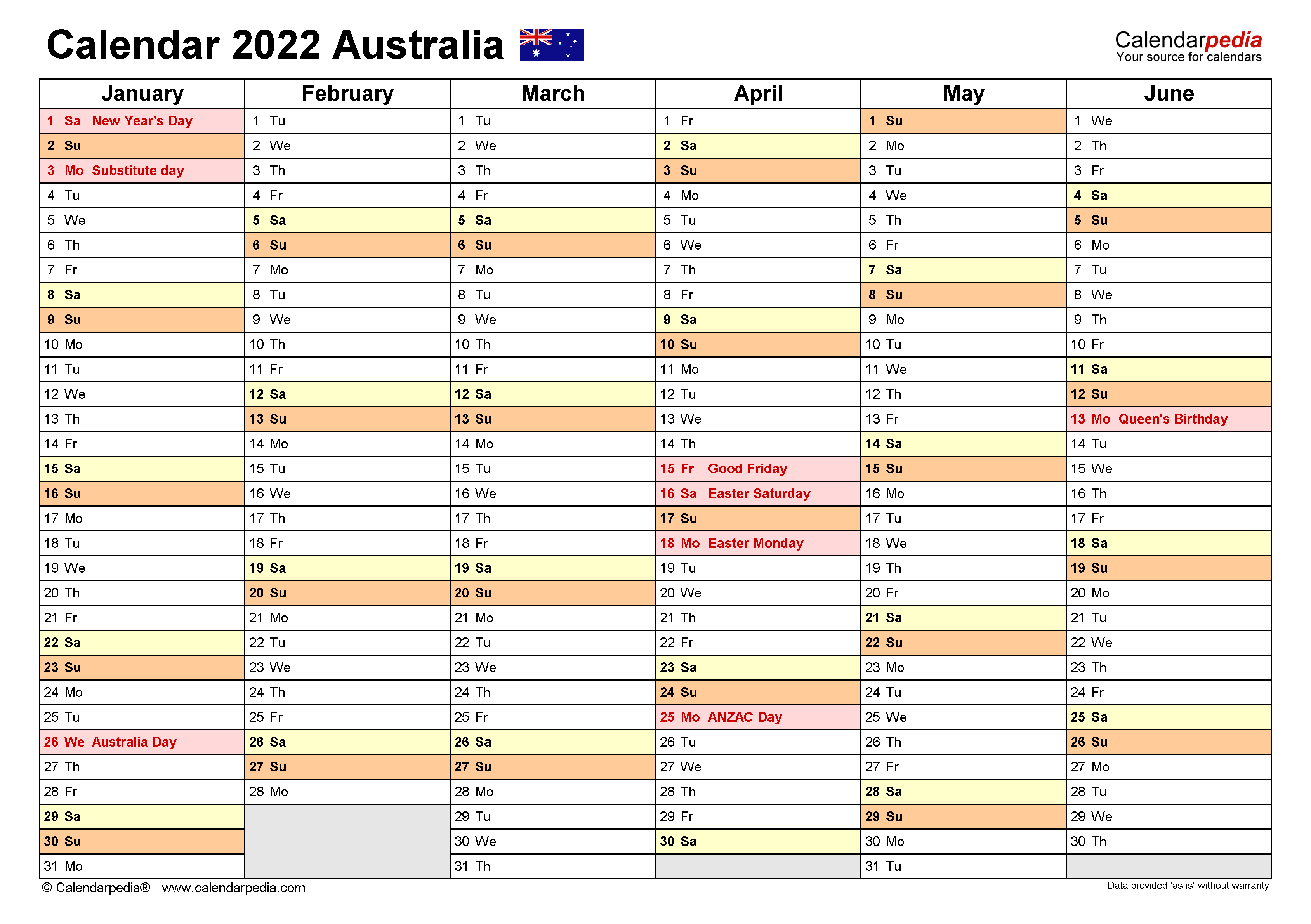 Australia Calendar 2022 - Free Printable PDF templates