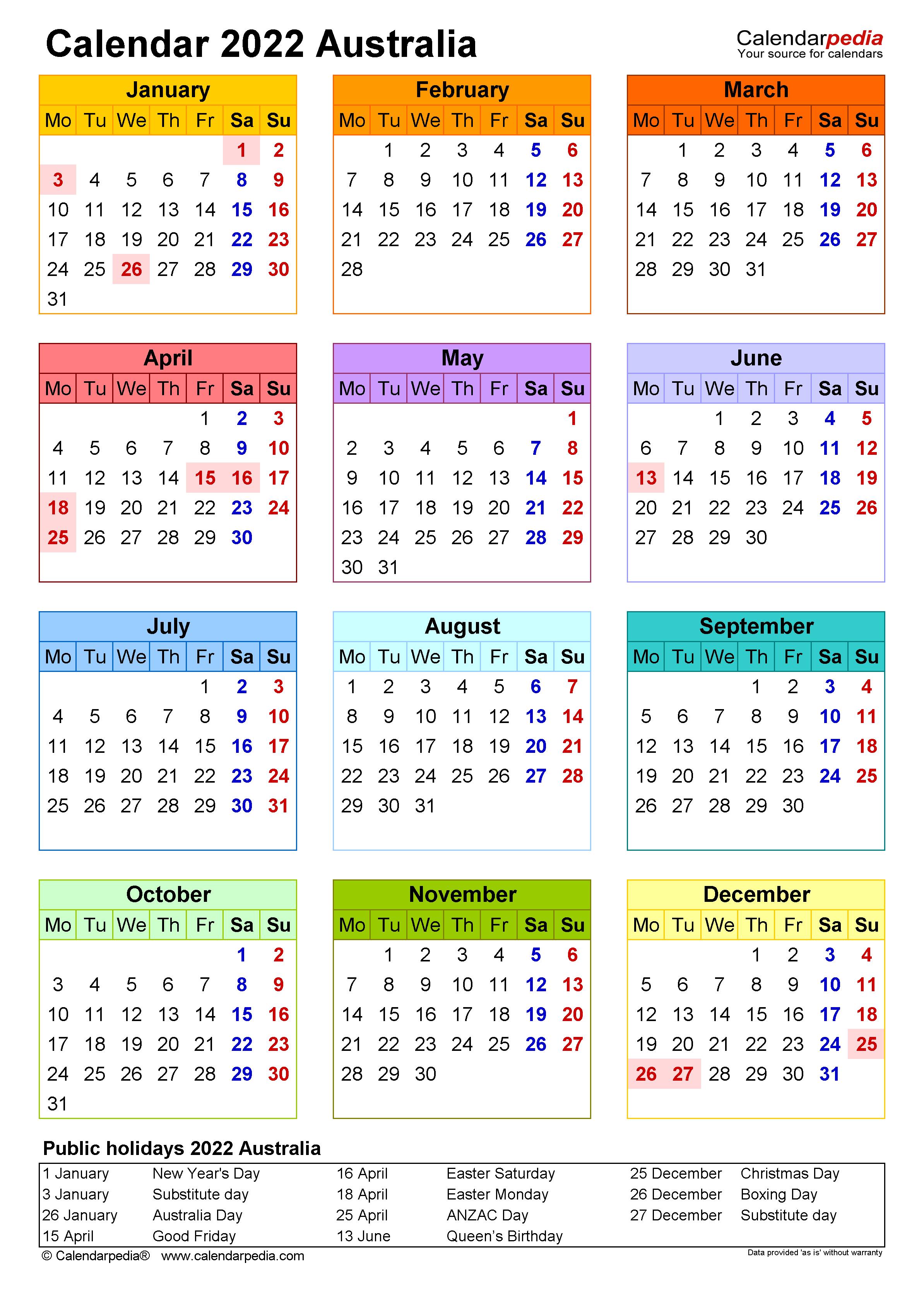 Time And Date Calendar 2022.Australia Calendar 2022 Free Printable Excel Templates