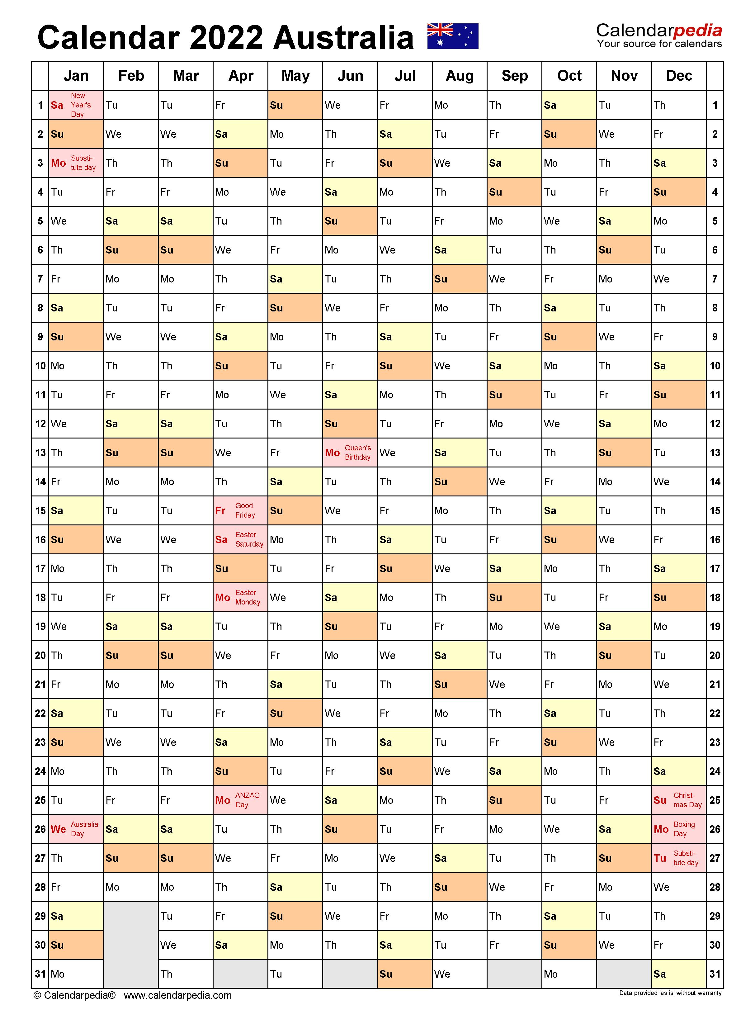 Australia Calendar 2022 Free Printable Word Templates