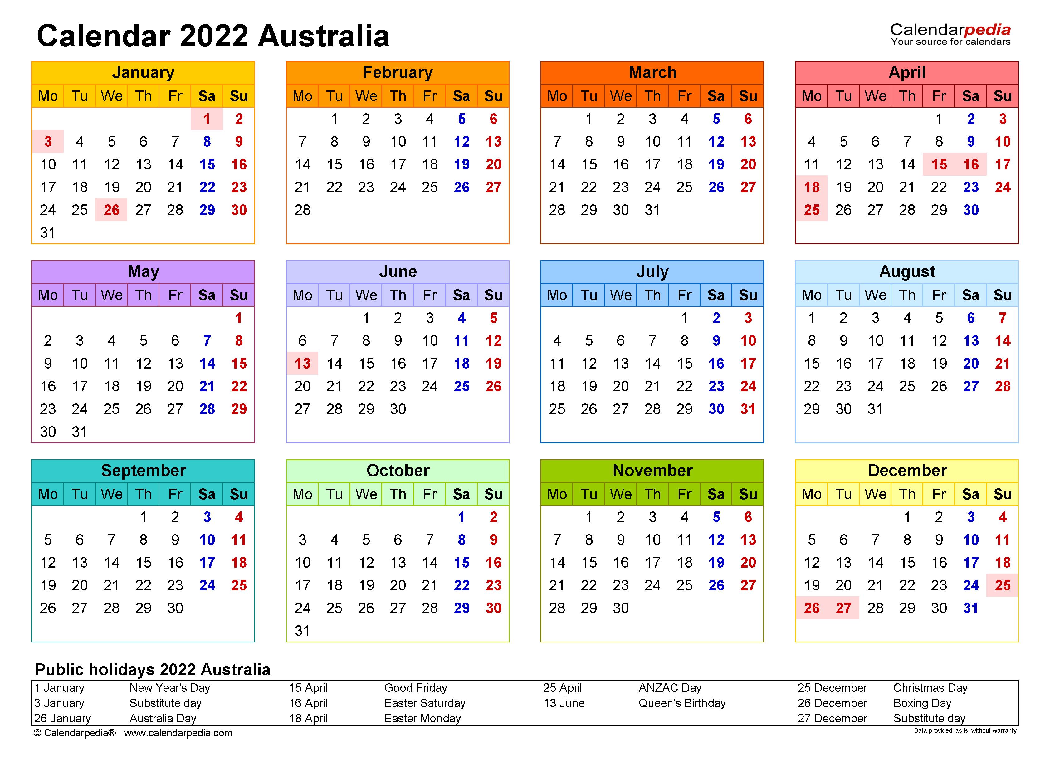 Calendar 2022 Template.Australia Calendar 2022 Free Printable Excel Templates