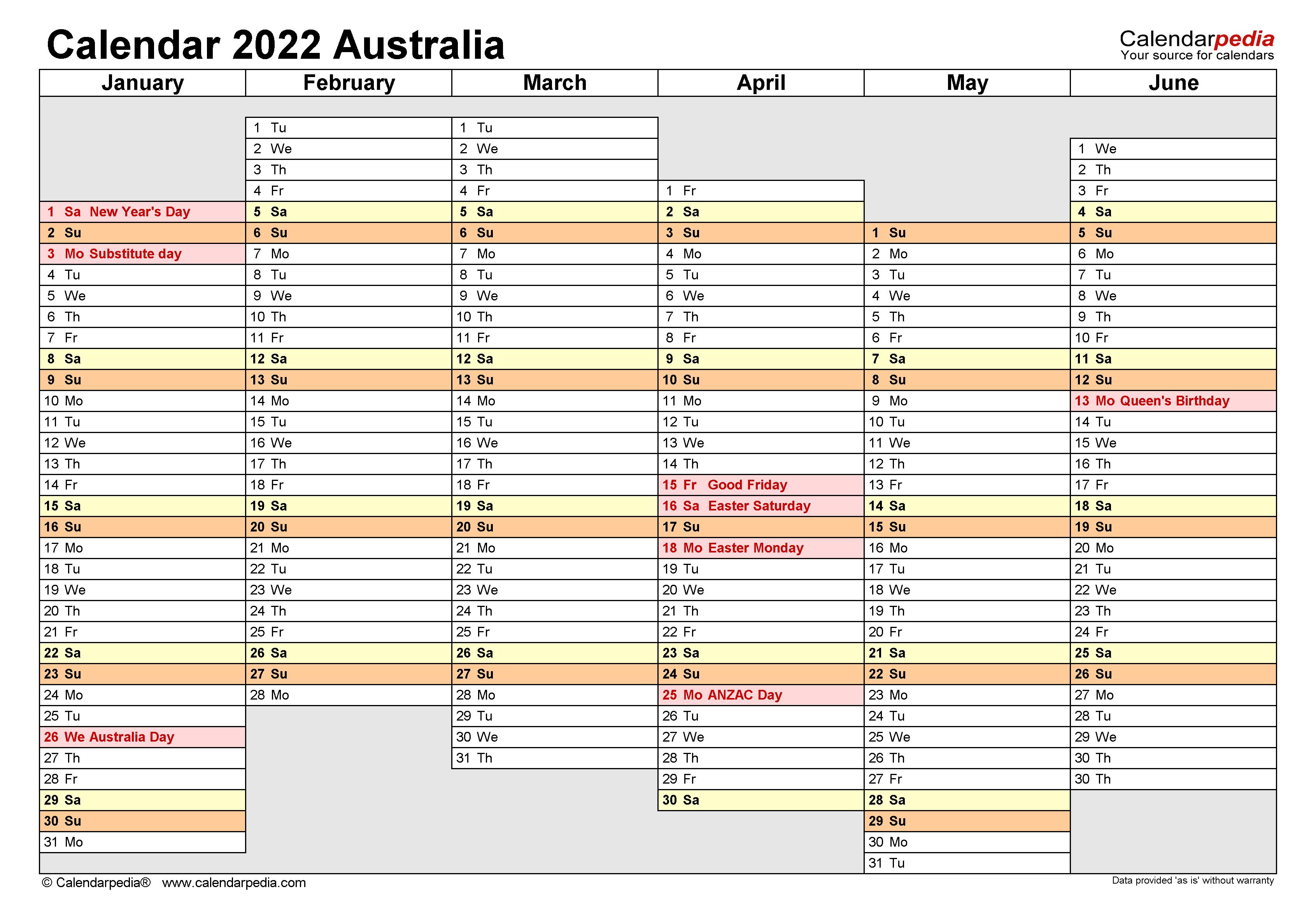 Australia Calendar 2022 Free Printable Pdf Templates