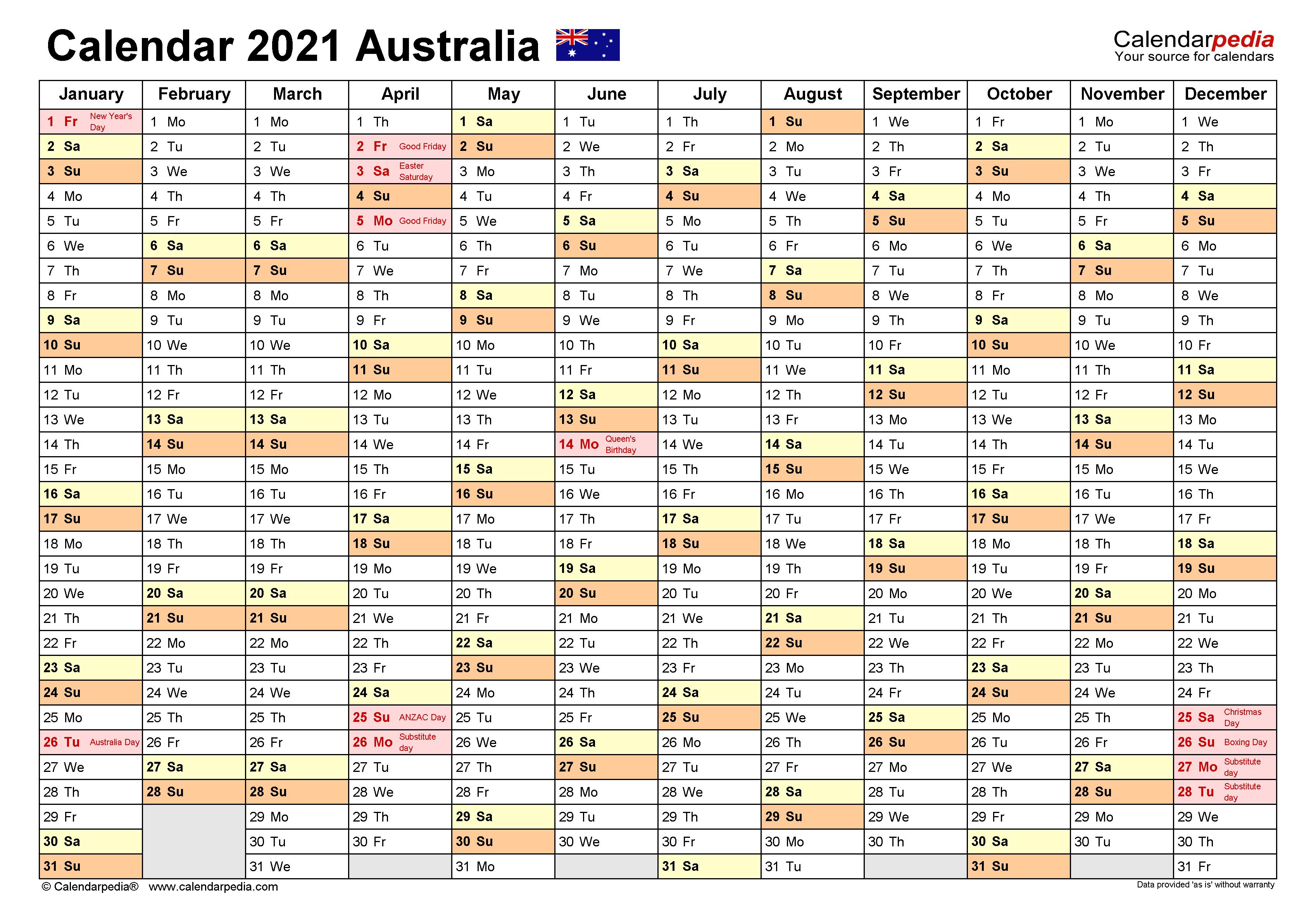 Australia Calendar 2021 - Free Printable Excel templates