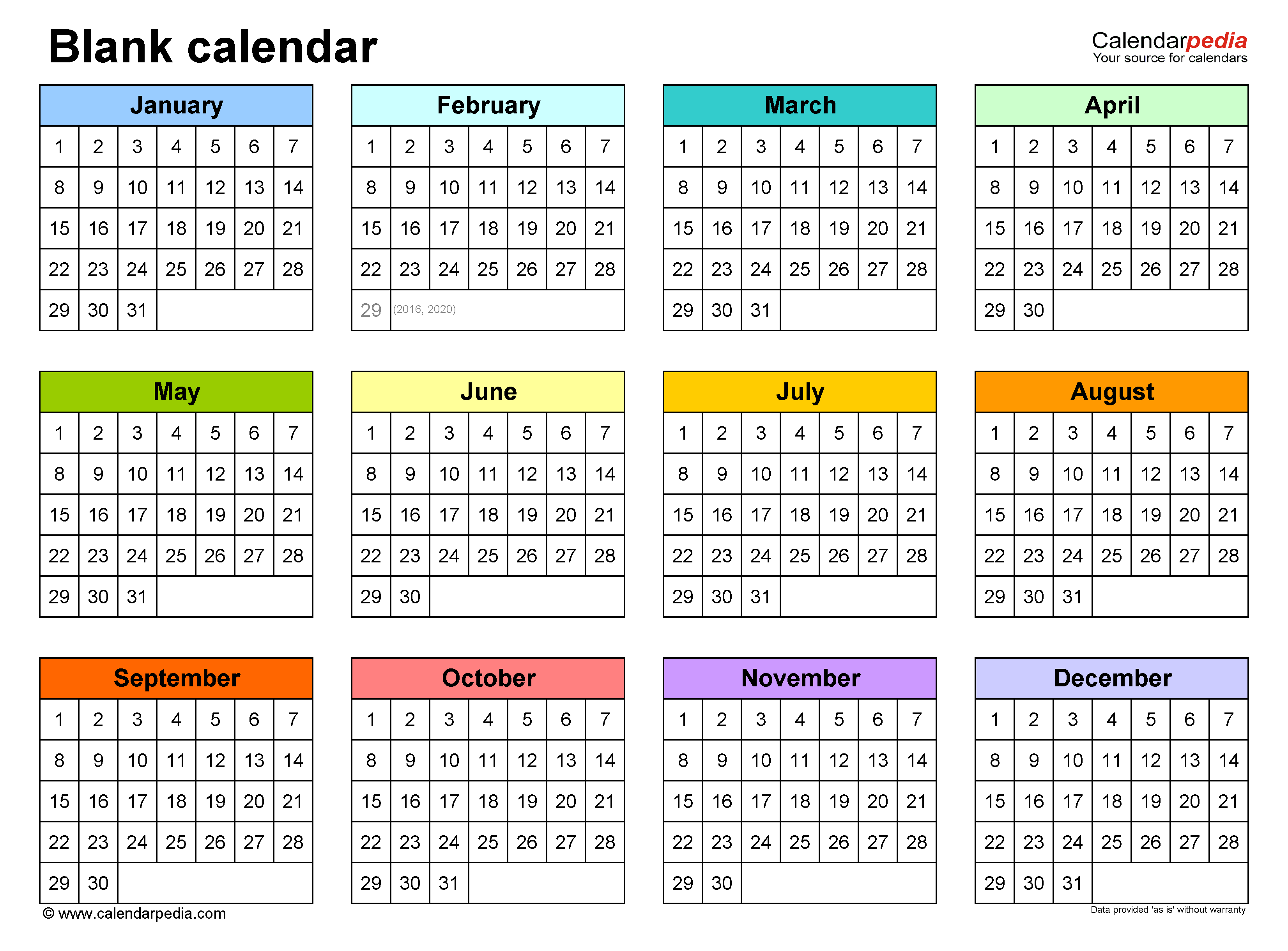 Blank Monthly Calendar Template Word from www.calendarpedia.com