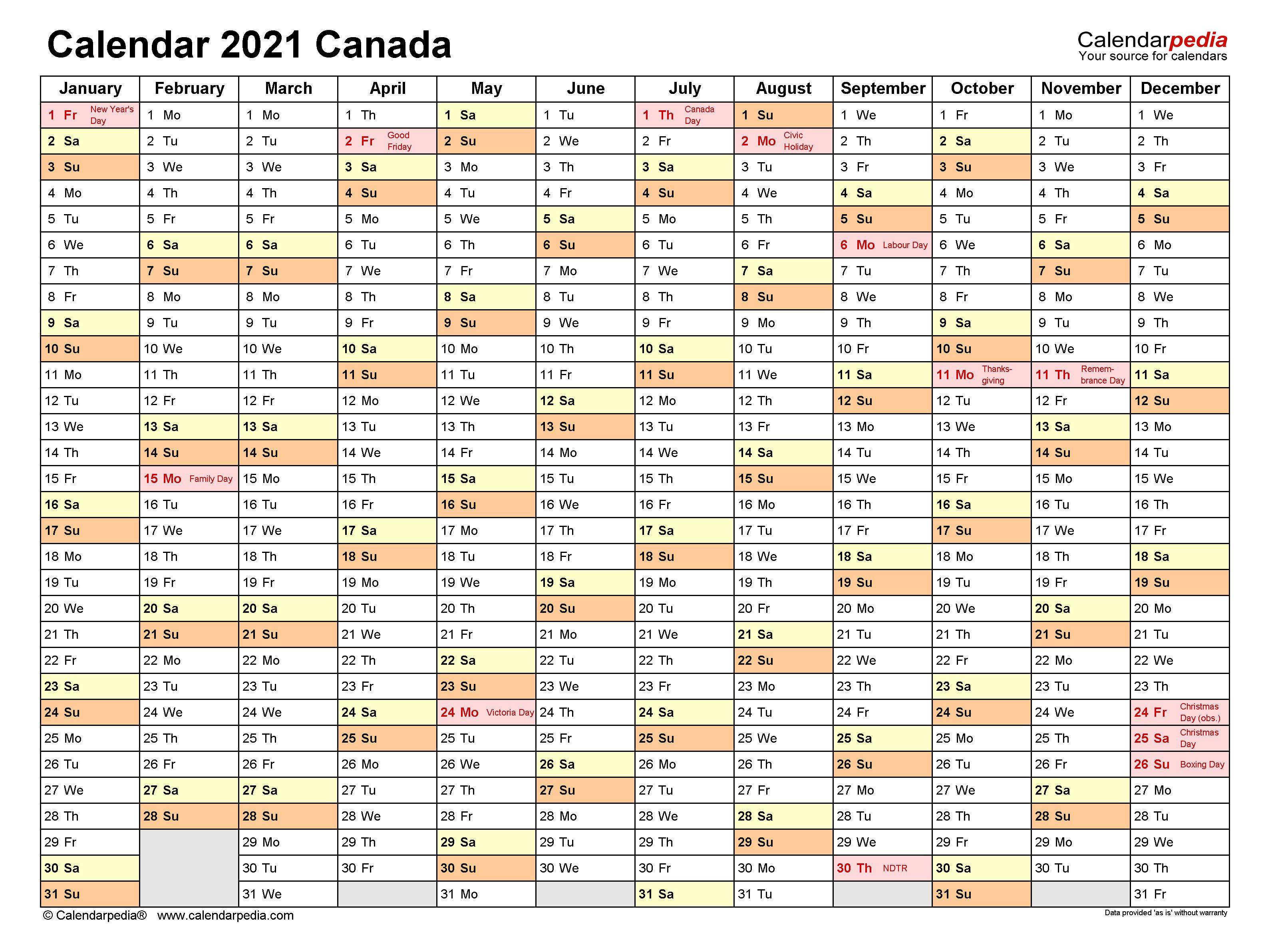 20+ Large Print Calendar 2021 Canada - Free Download ...