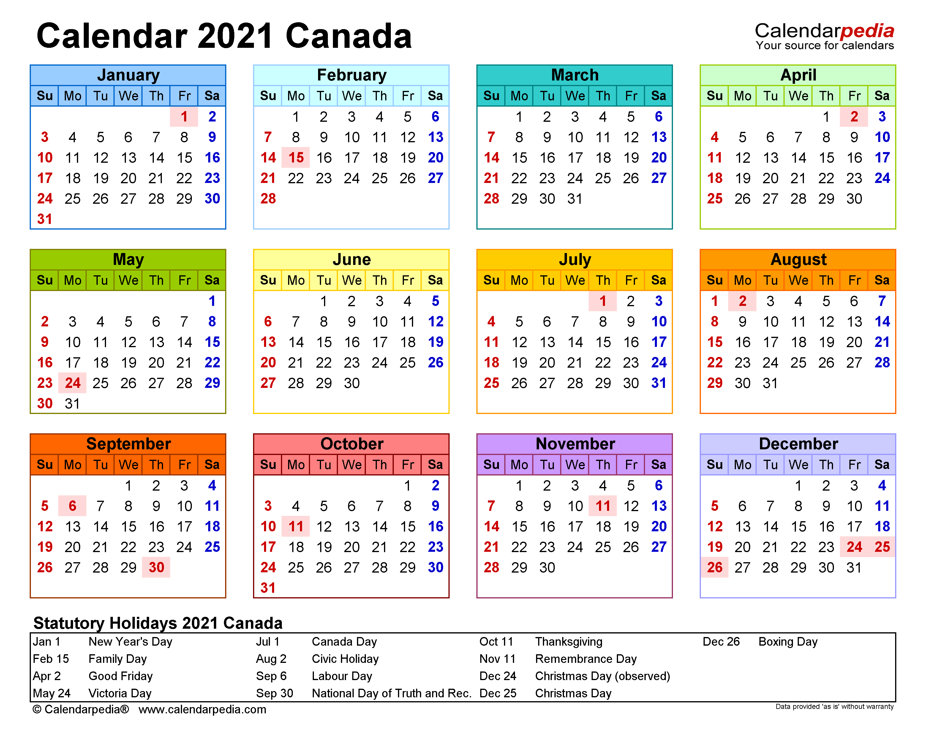 Photos of 2021 Calendar With Holidays Canada