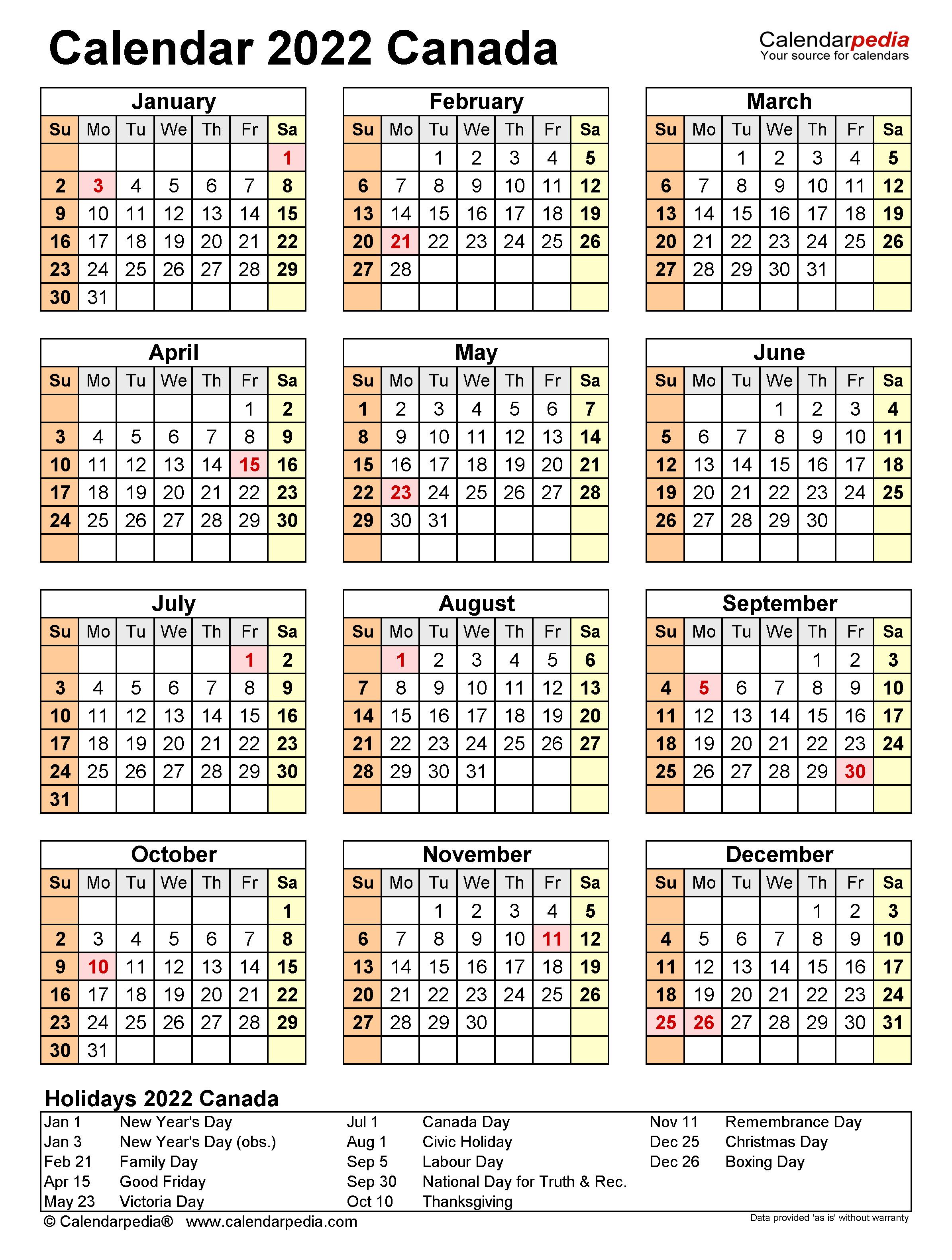 2022 Calendar Canada.Canada Calendar 2022 Free Printable Excel Templates
