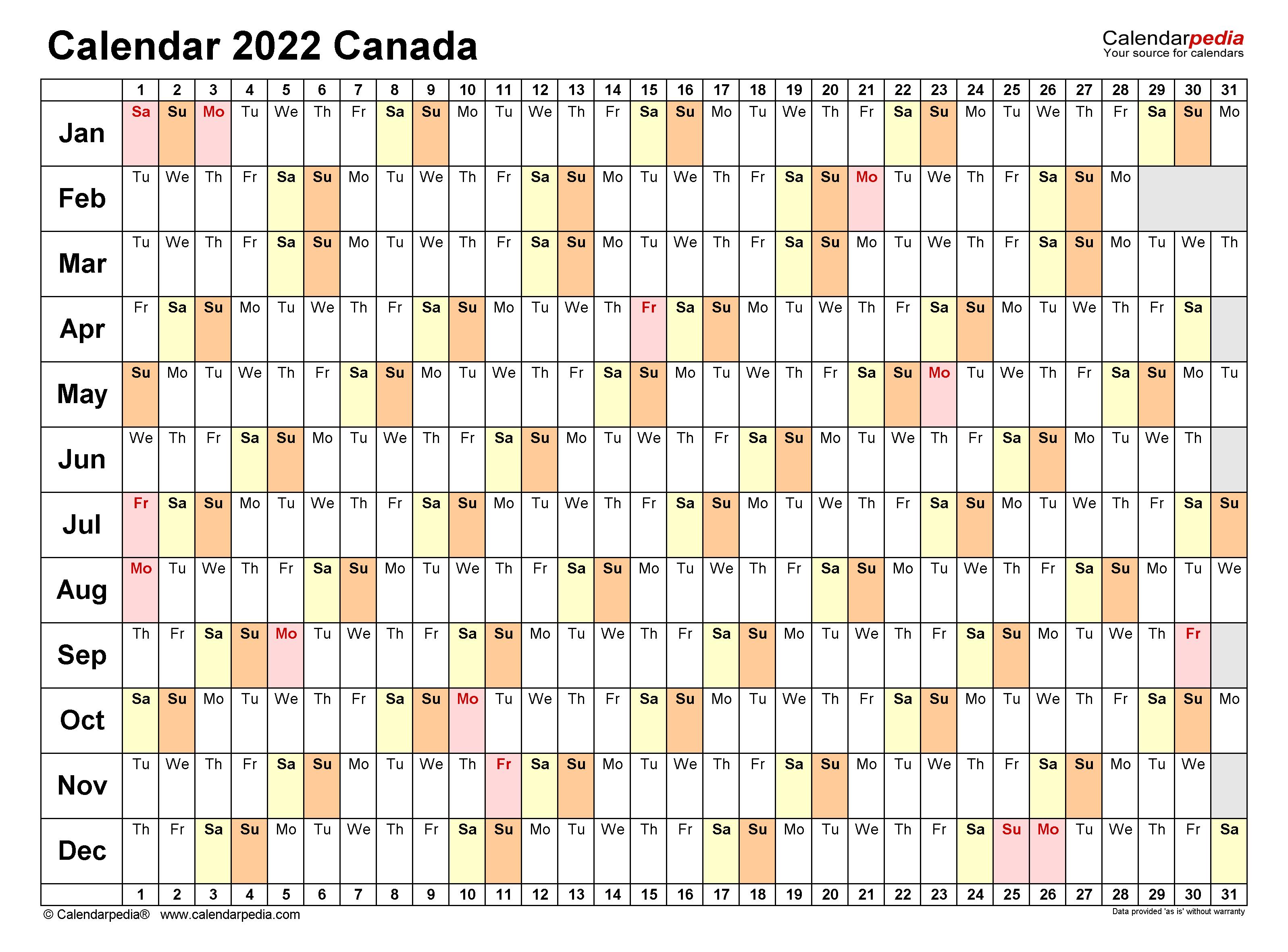 Canada Calendar 2022 Free Printable Word Templates