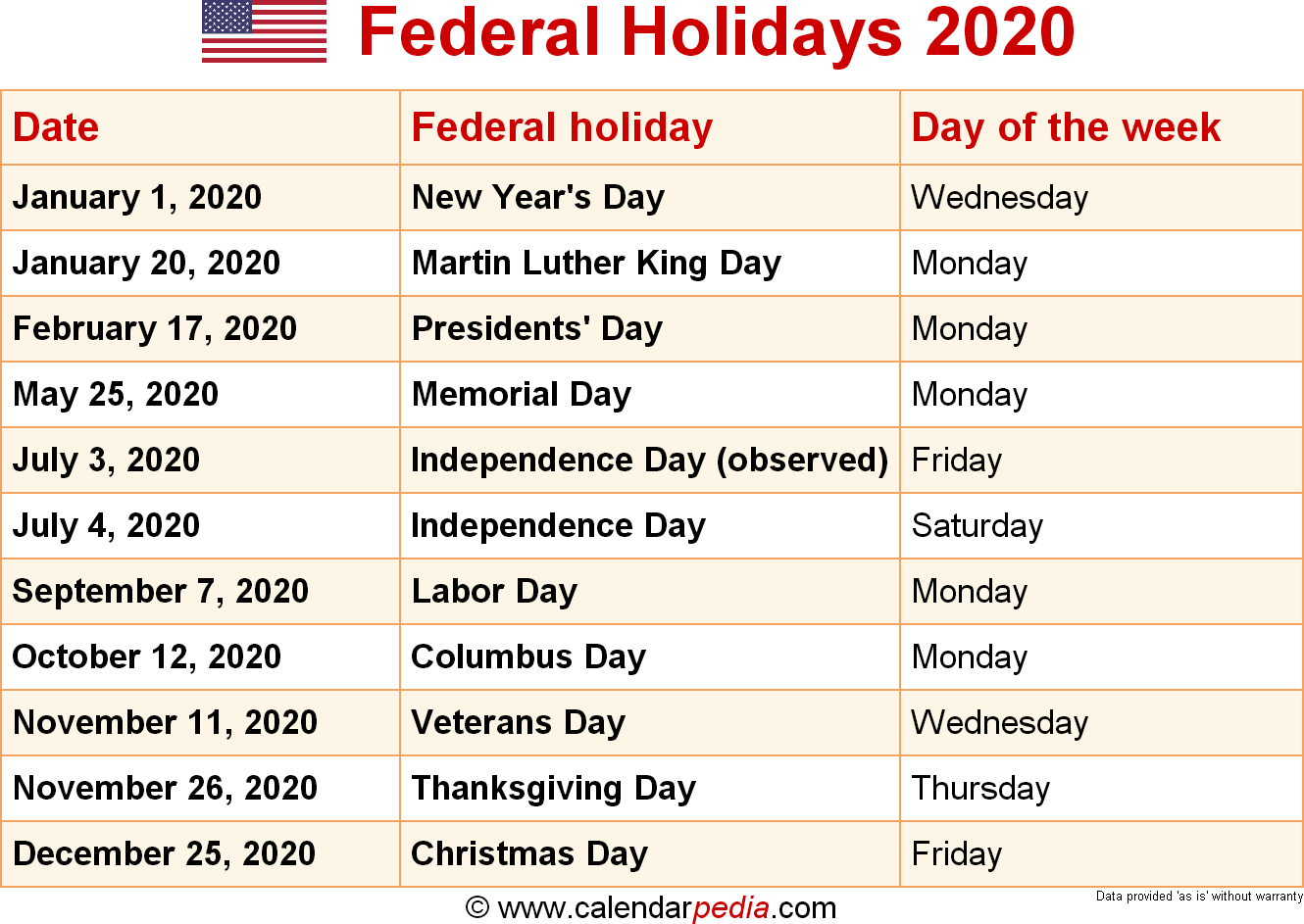 US federal holidays 2020