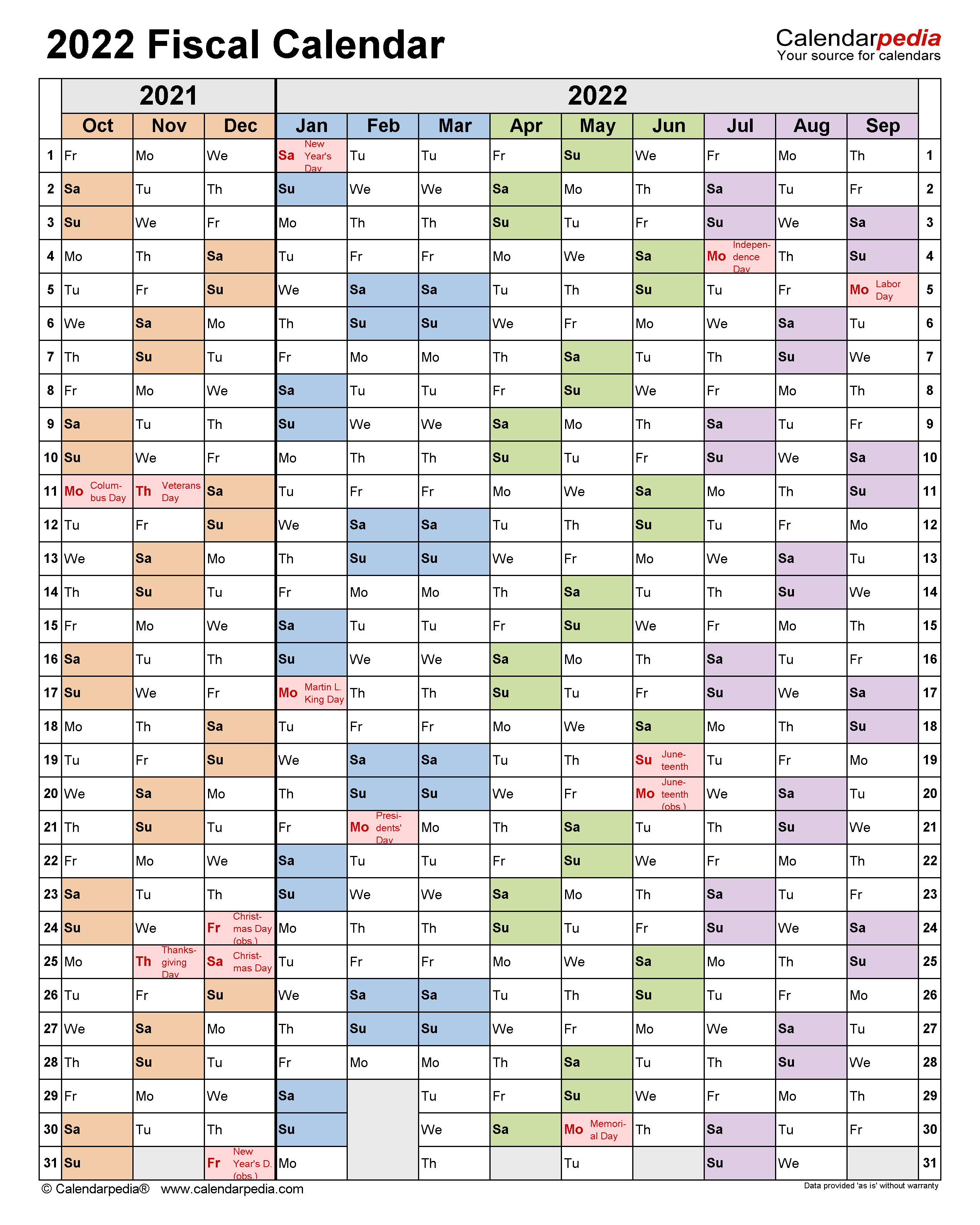 Fiscal Calendars 2022 Free Printable Pdf Templates