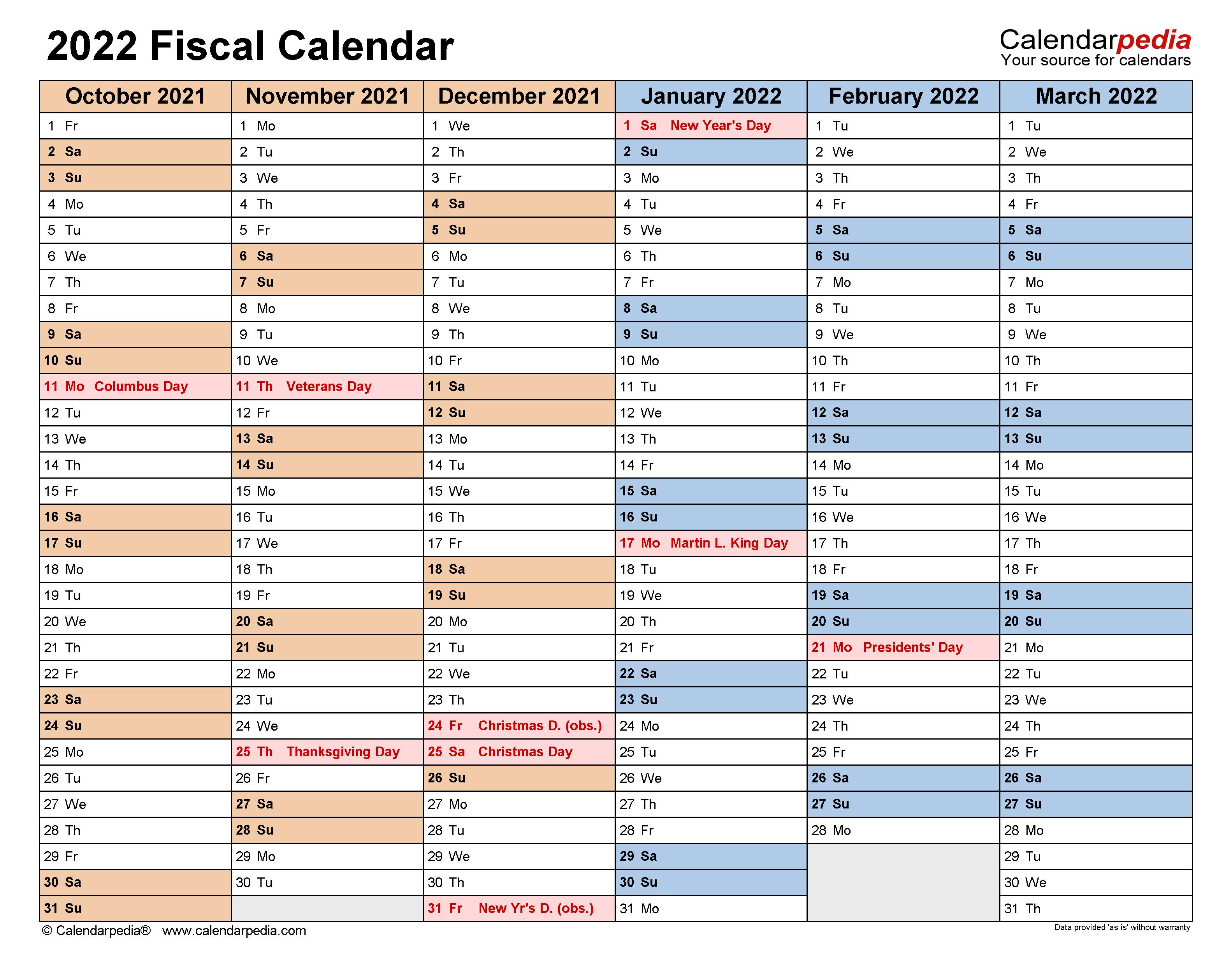 Fiscal Calendars 2022 - free printable PDF templates
