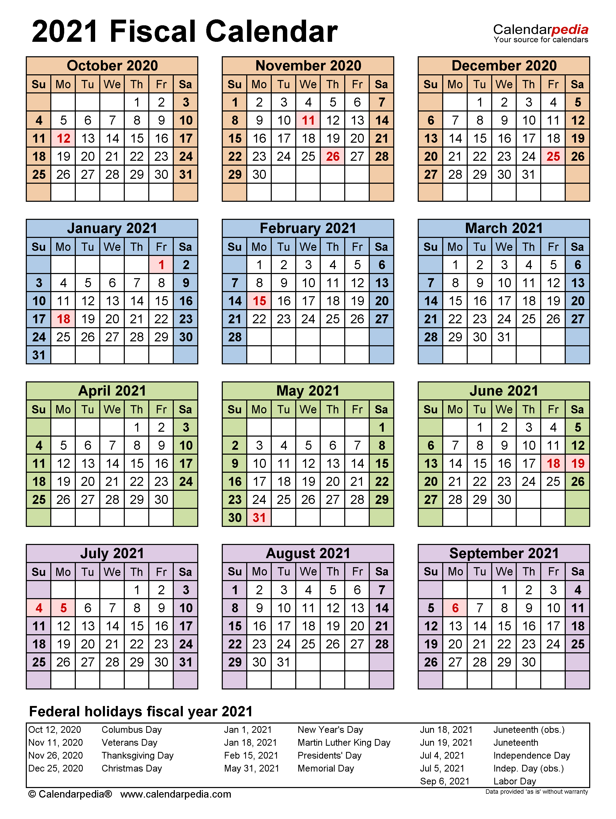 Fiscal Calendars 2021 Free Printable Pdf Templates