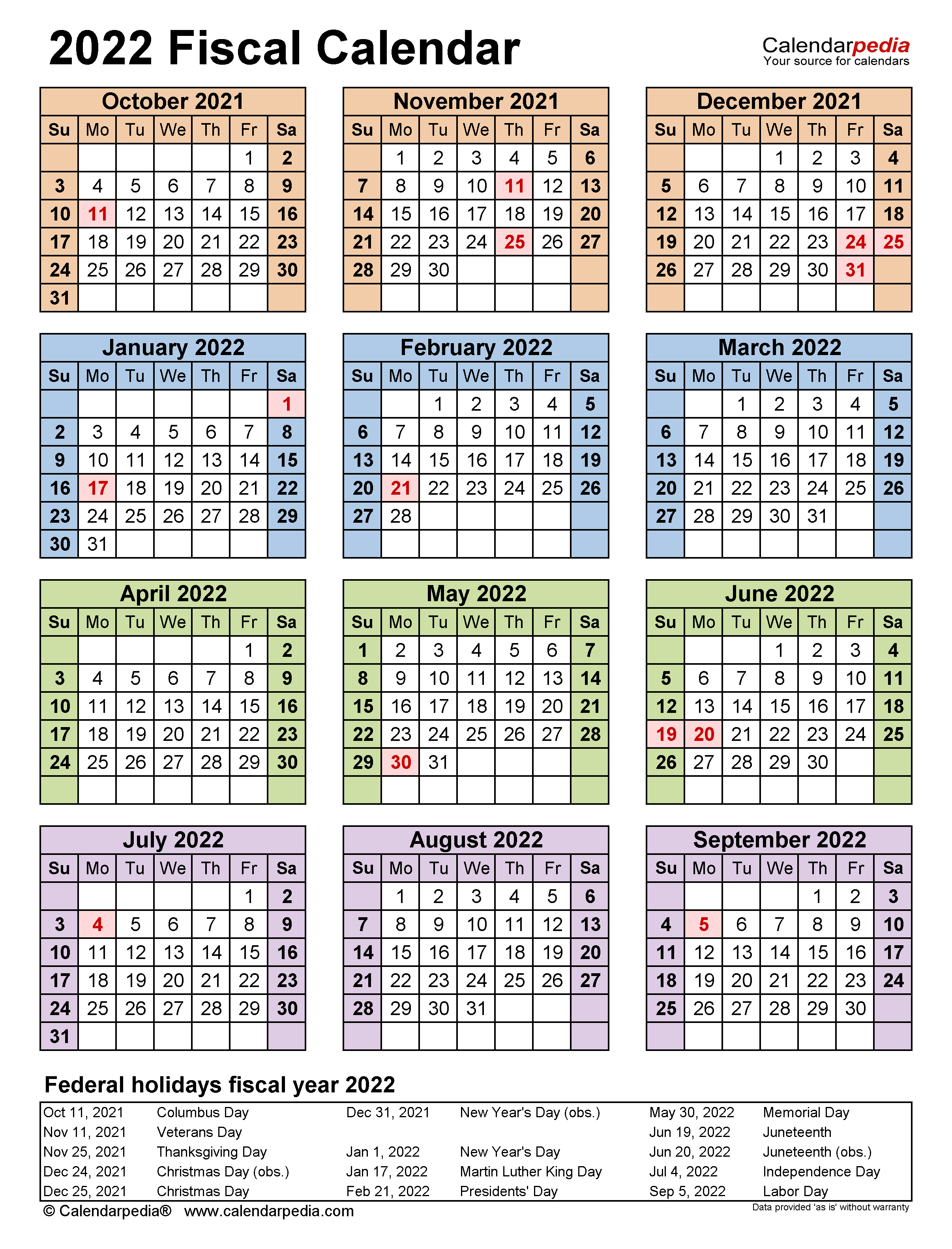 2022 Government Calendar - Nexta