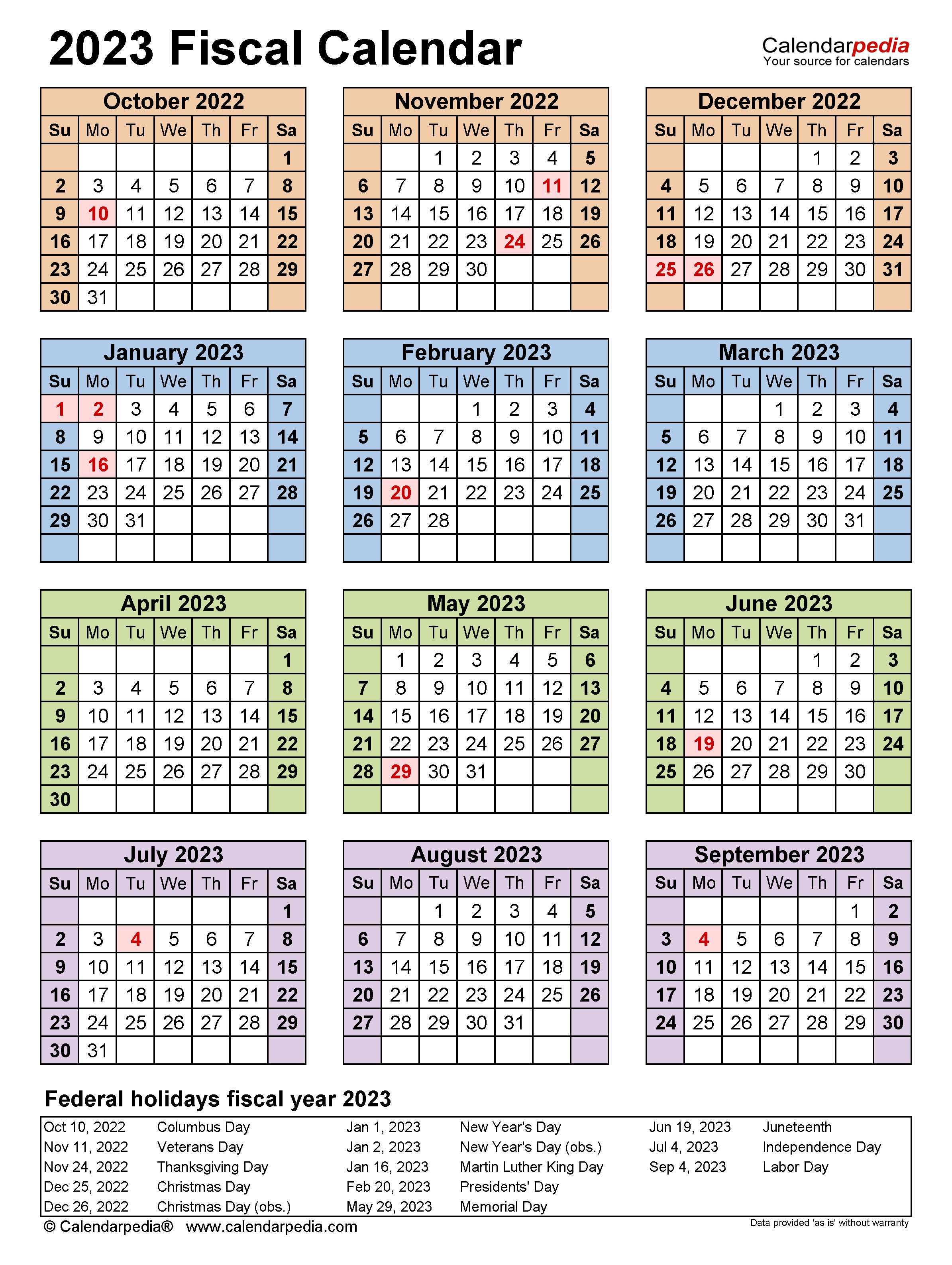 Fiscal Calendars 2023 Free Printable Pdf Templates
