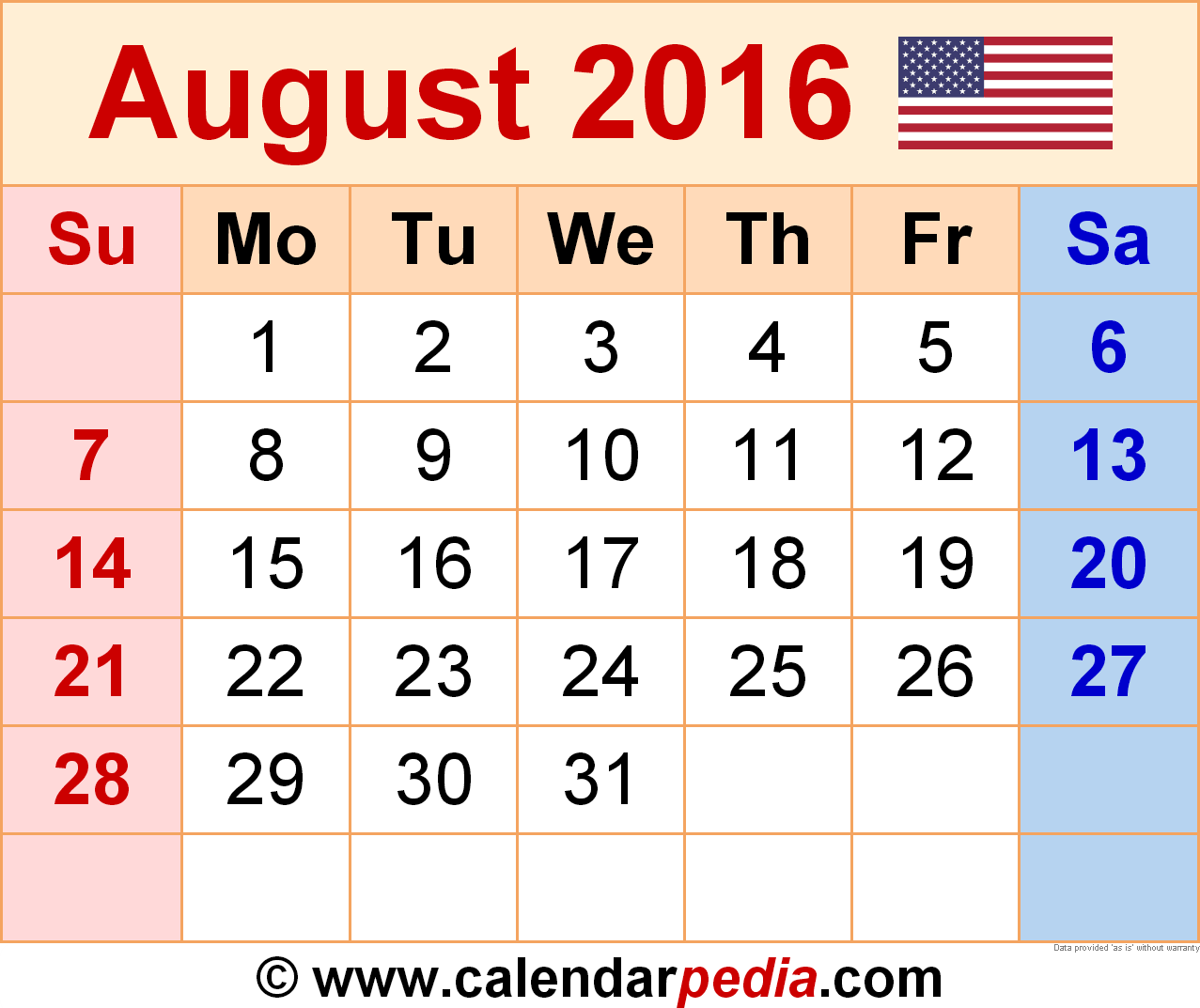 August Calendar Template 2016 from www.calendarpedia.com