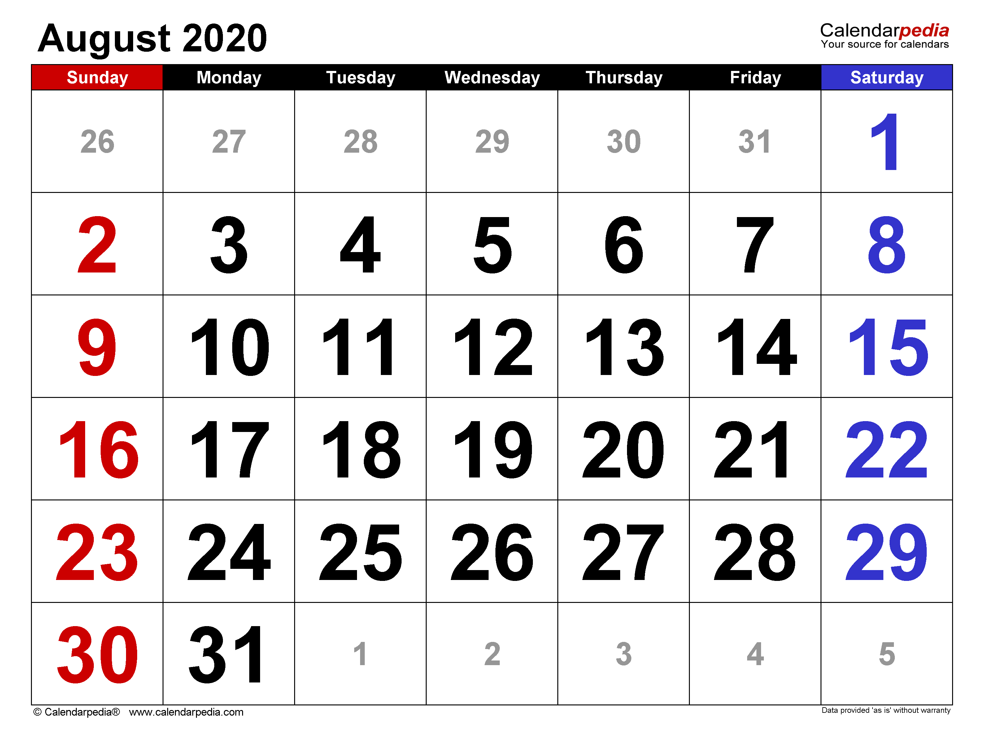 August 2020 Calendar | Templates for Word, Excel and PDF