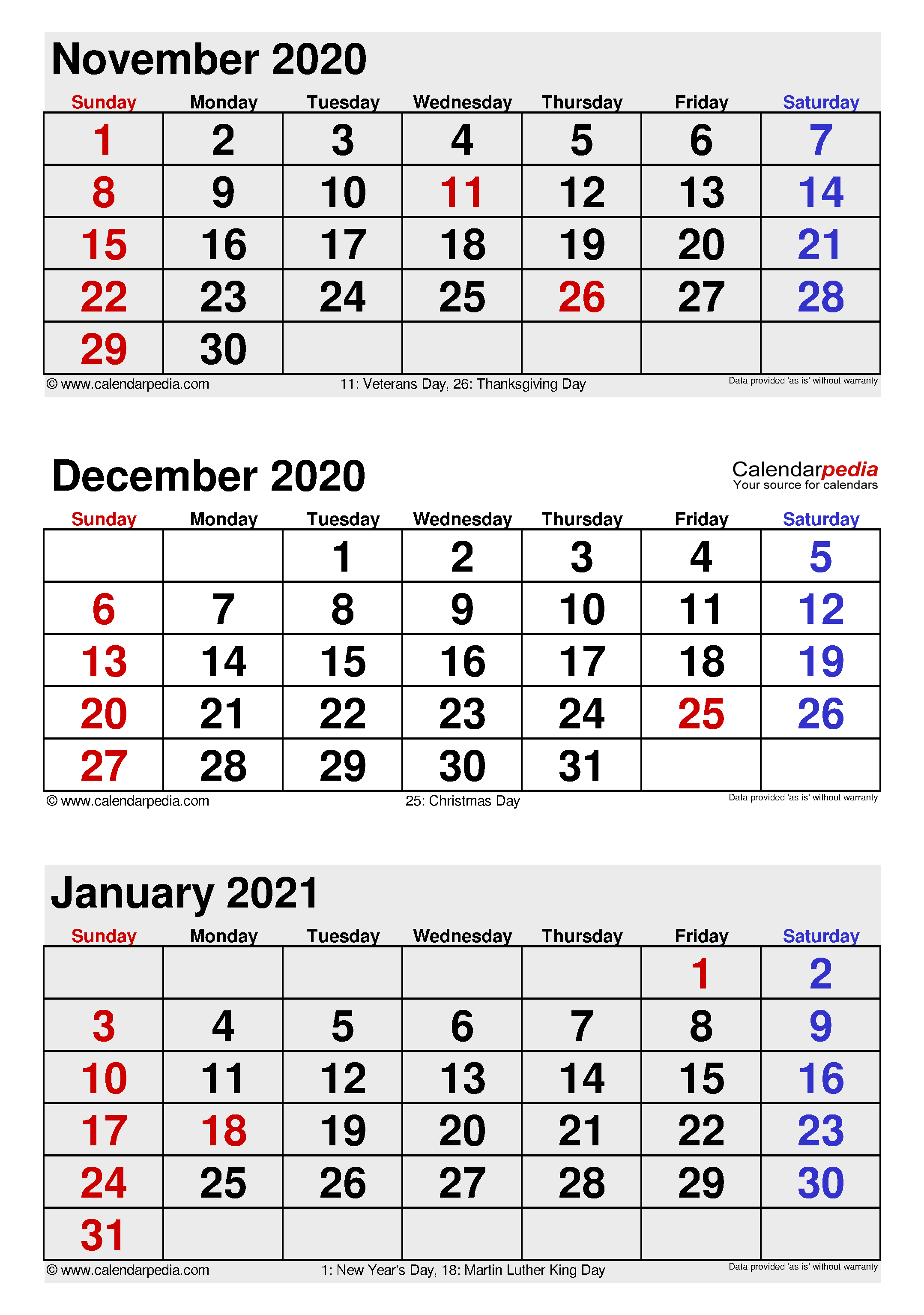 December 2020 Calendar | Templates for Word, Excel and PDF
