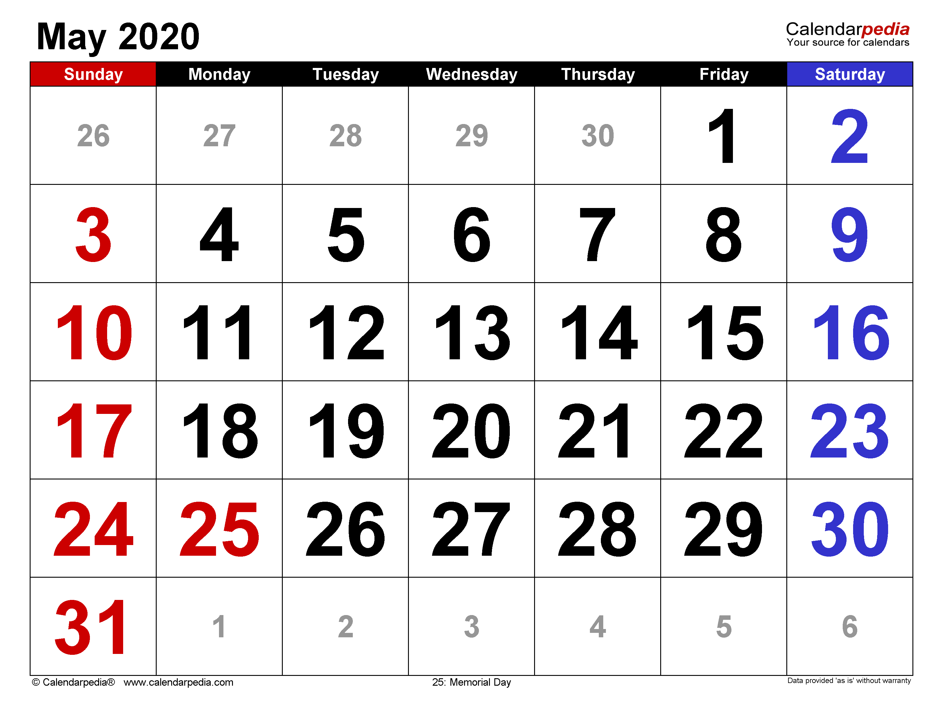 May 2020 Calendar Templates For Word Excel And Pdf