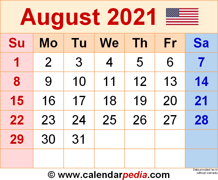 August 2021 - calendar templates for Word, Excel and PDF