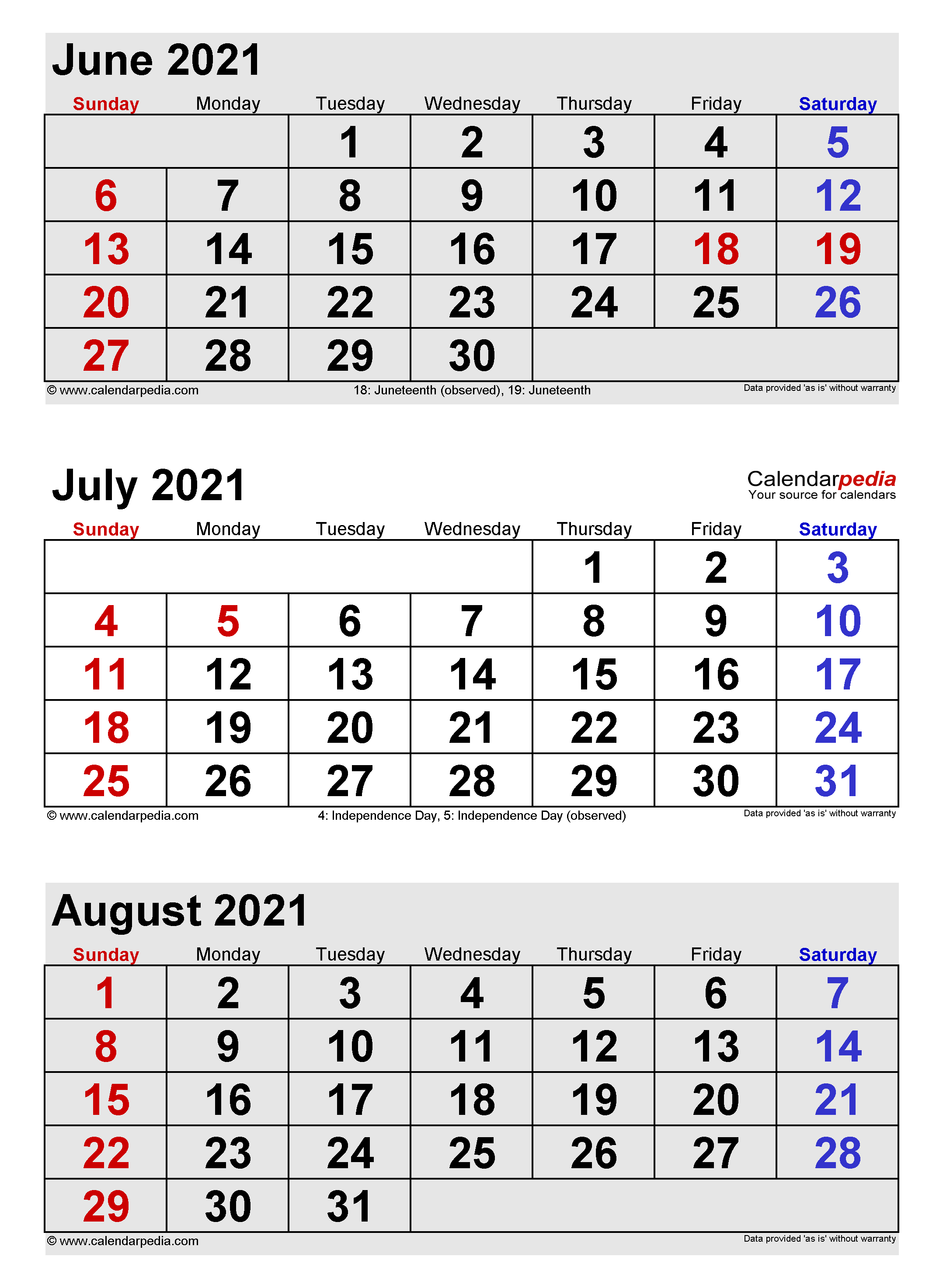 Calendar May June July August 2021 July 2021 Calendar | Templates for Word, Excel and PDF