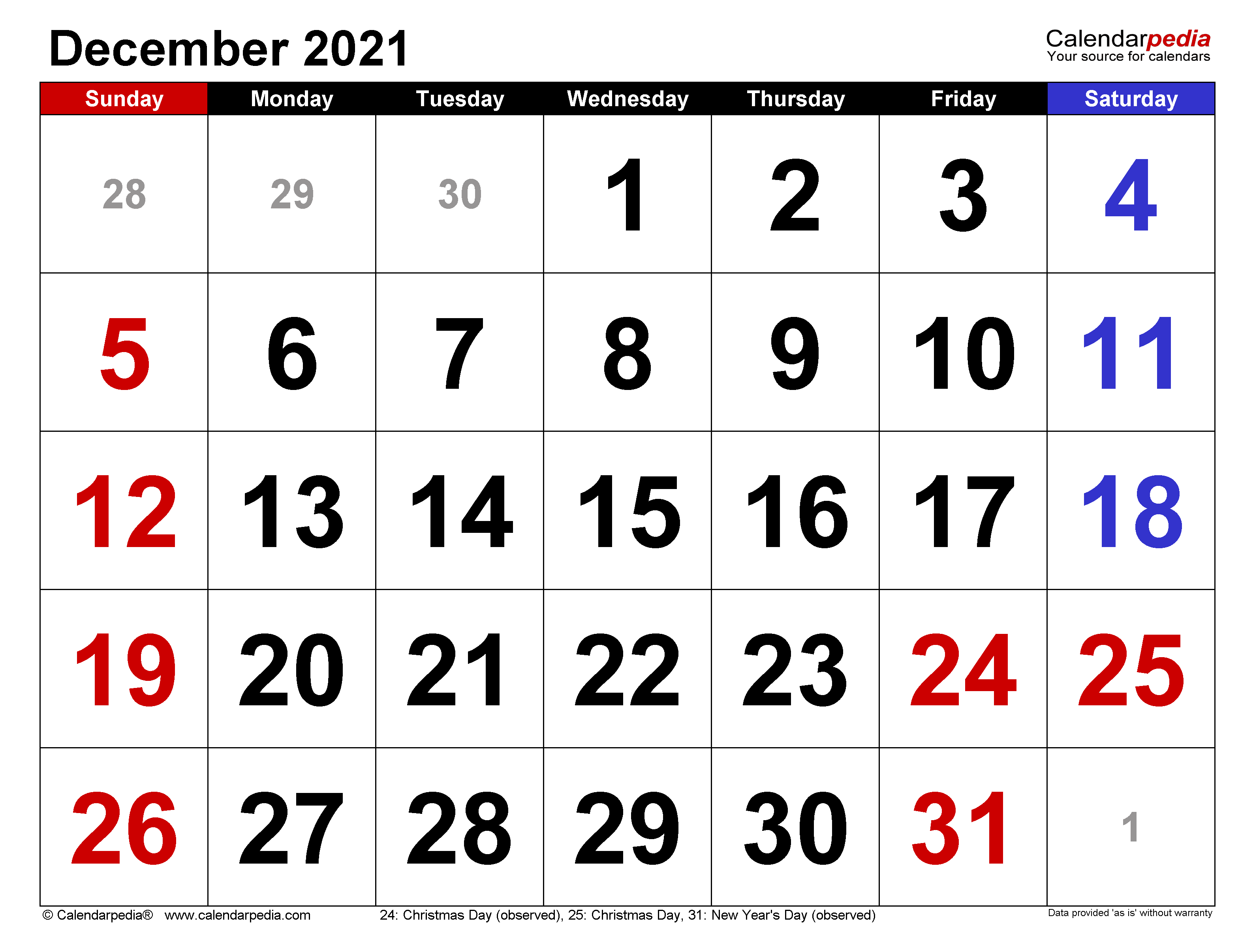 Calendar 2021 Dec December 2021 Calendar | Templates for Word, Excel and PDF