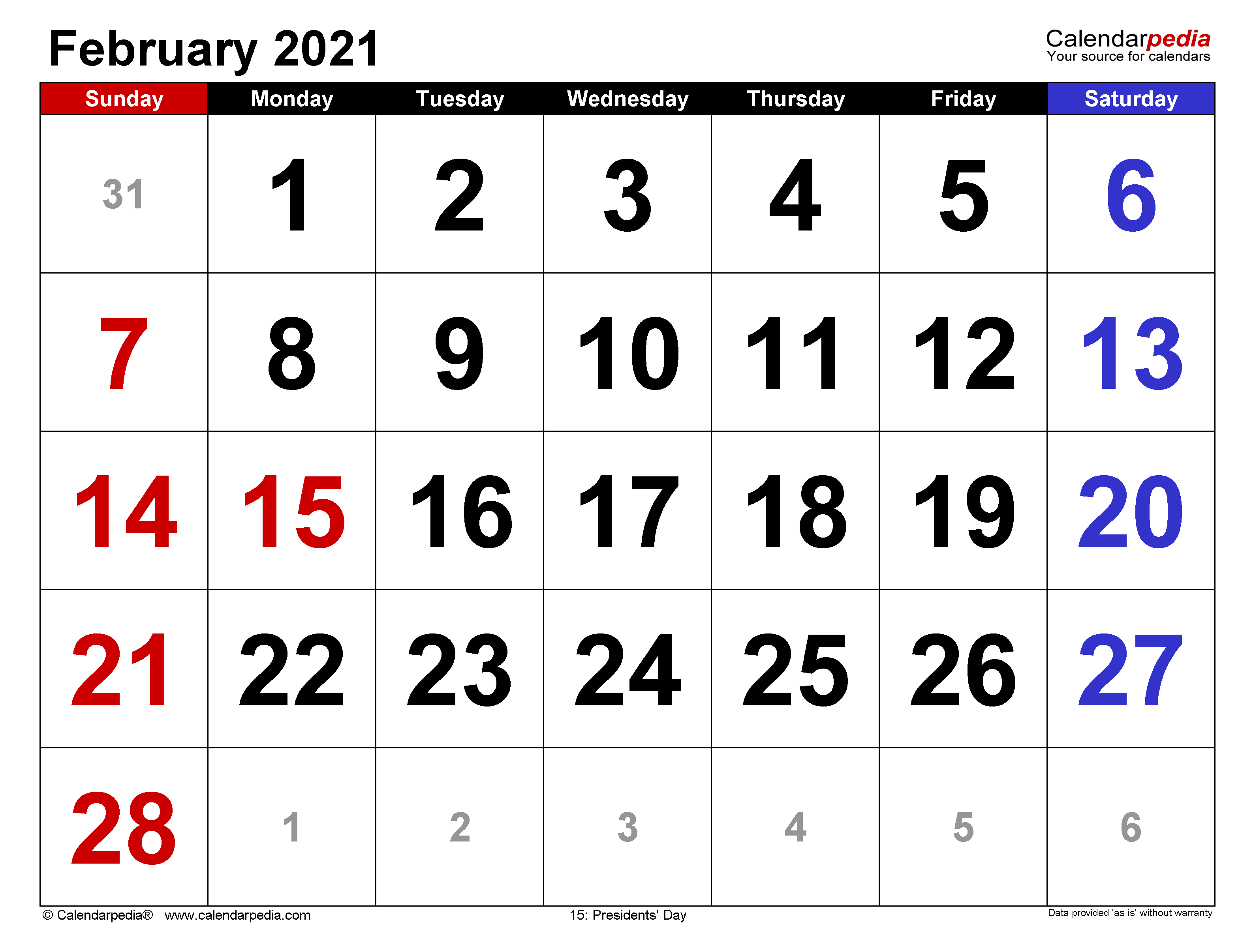 February 2021 Calendar Templates For Word Excel And Pdf