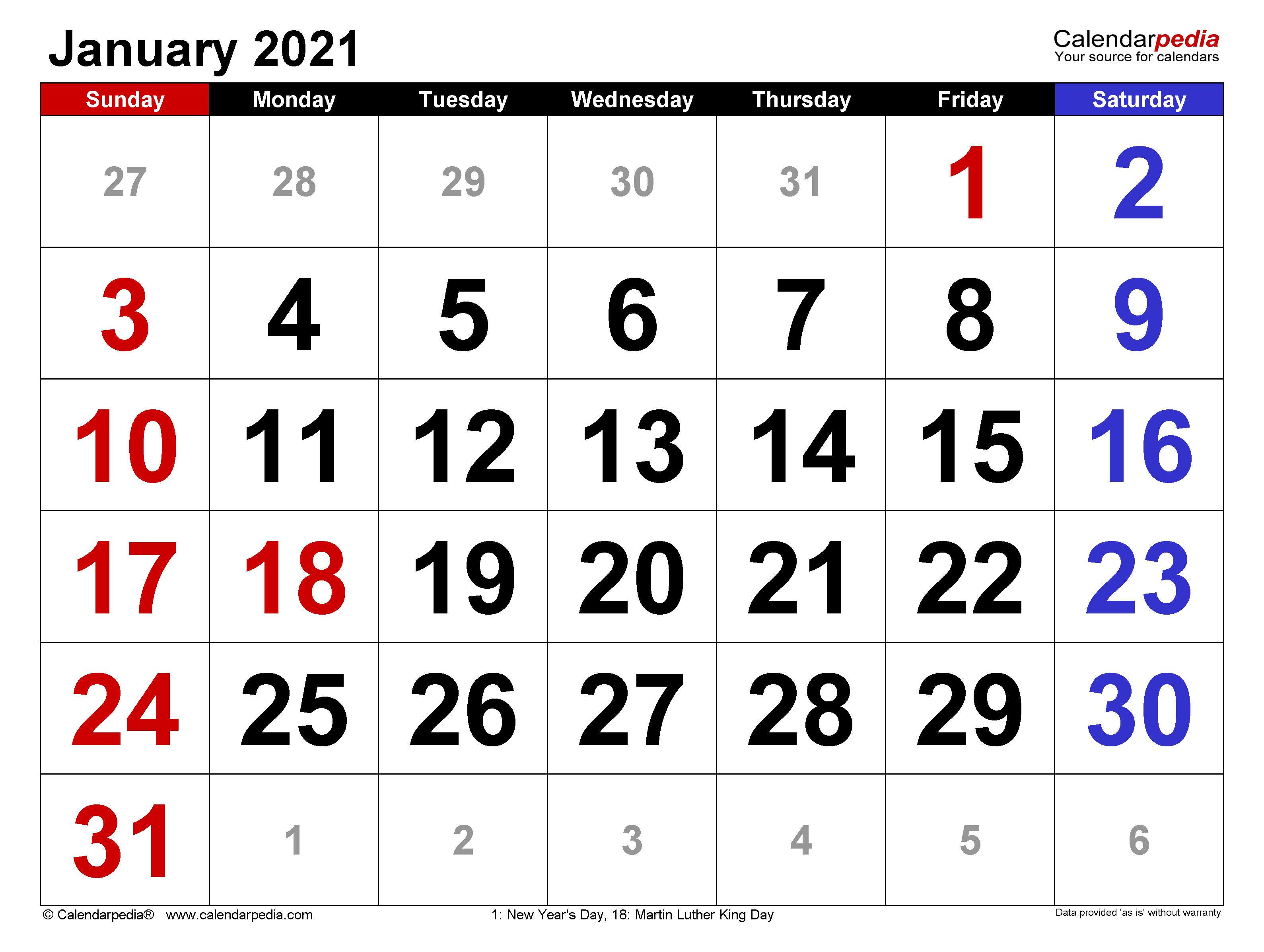 Month Of January 2021 Calendar January 2021 Calendar | Templates for Word, Excel and PDF