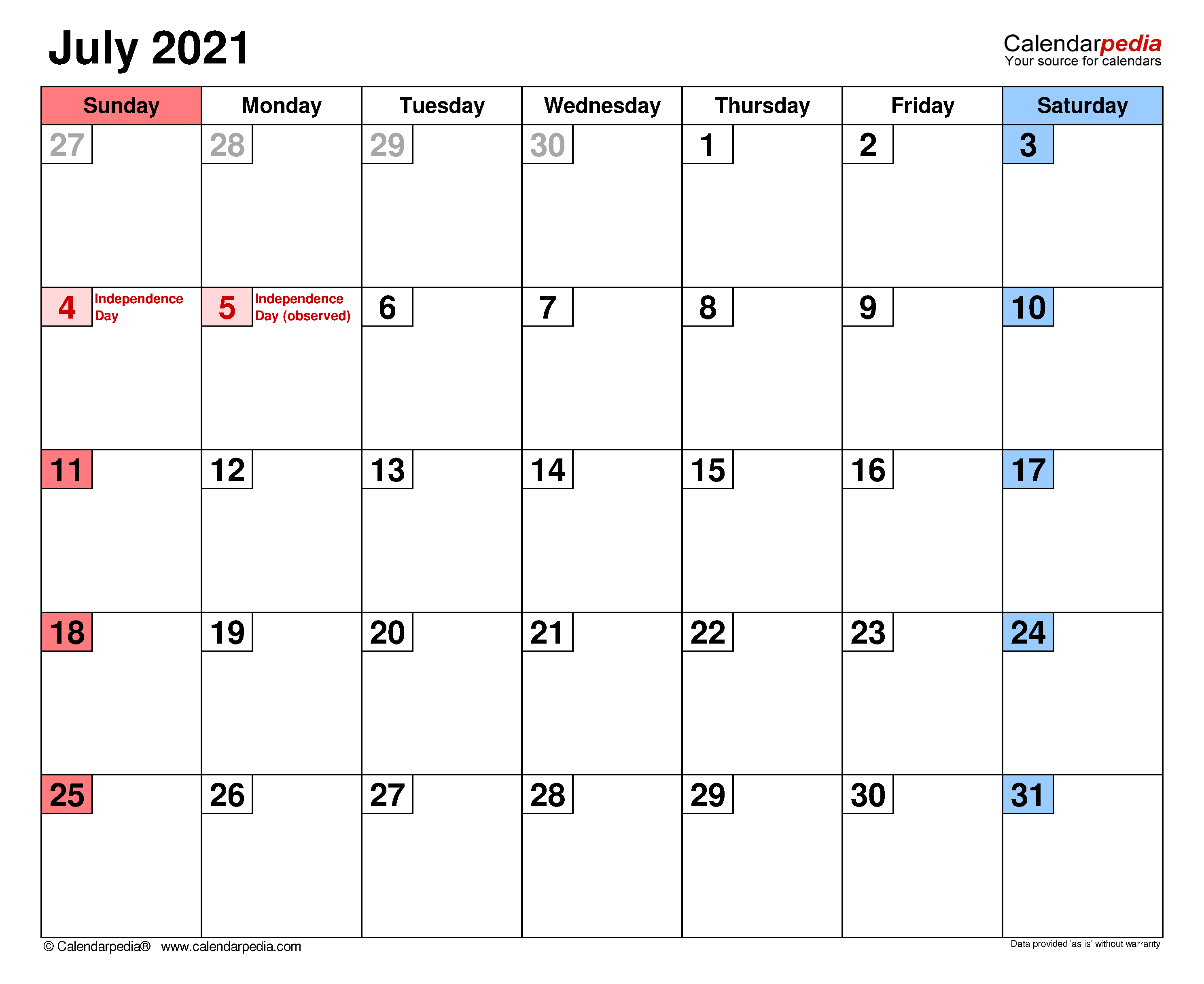 July 2021 - calendar templates for Word, Excel and PDF
