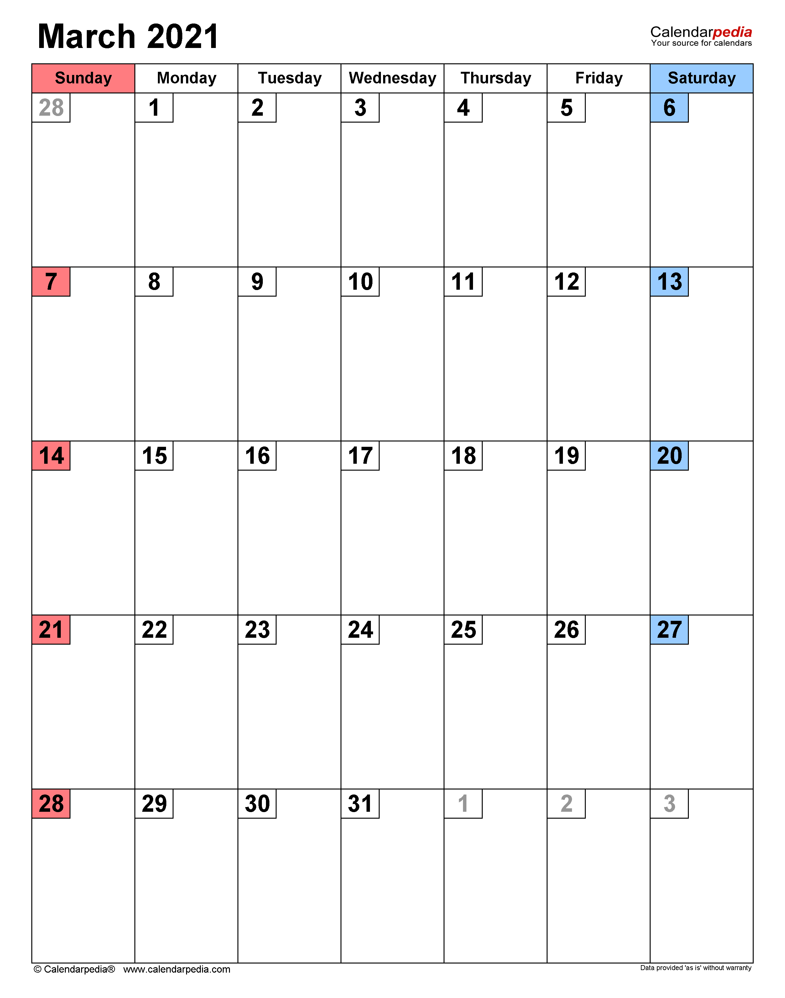 March 2021 Calendar   Templates for Word, Excel and PDF
