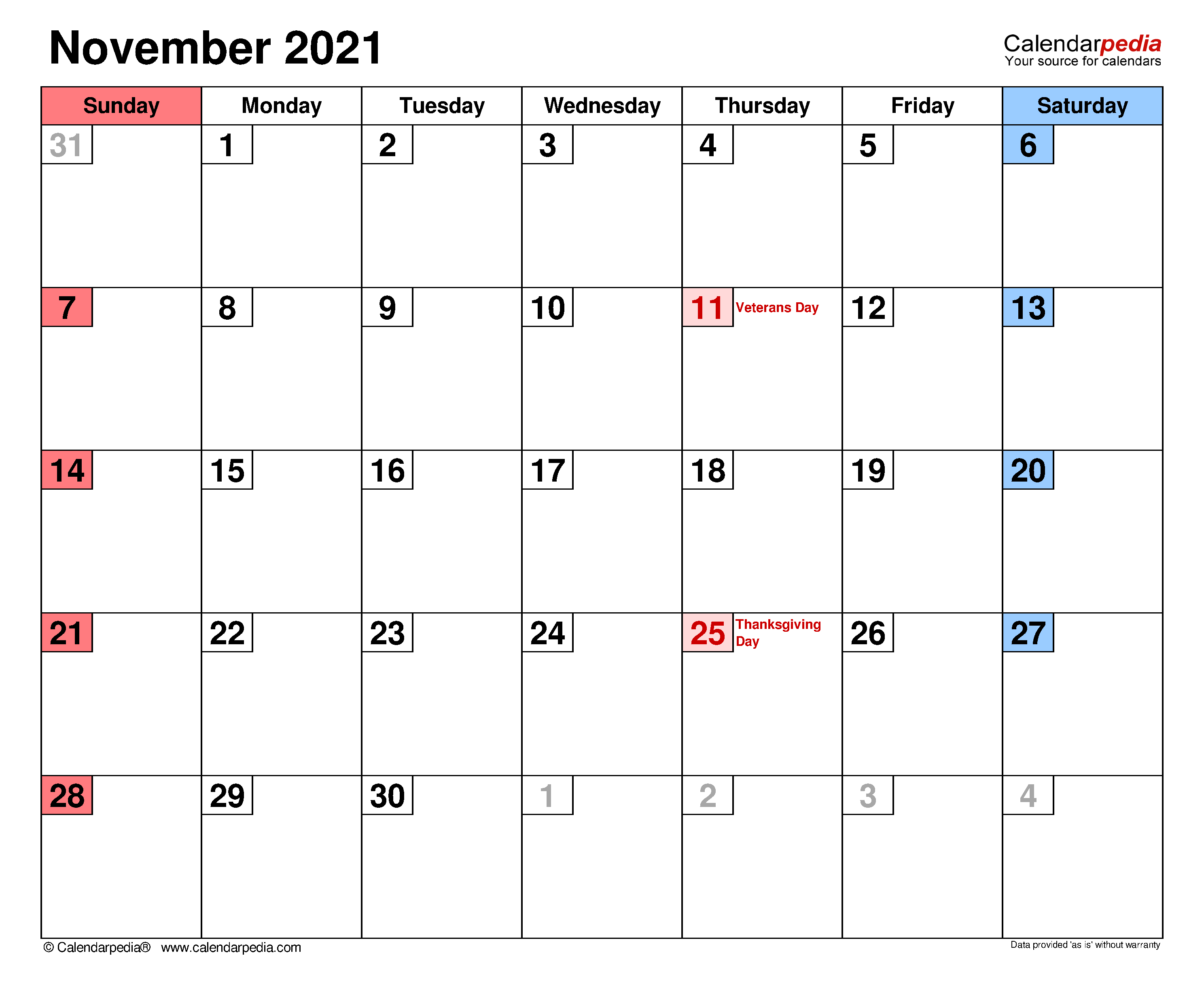 November 2021 - calendar templates for Word, Excel and PDF